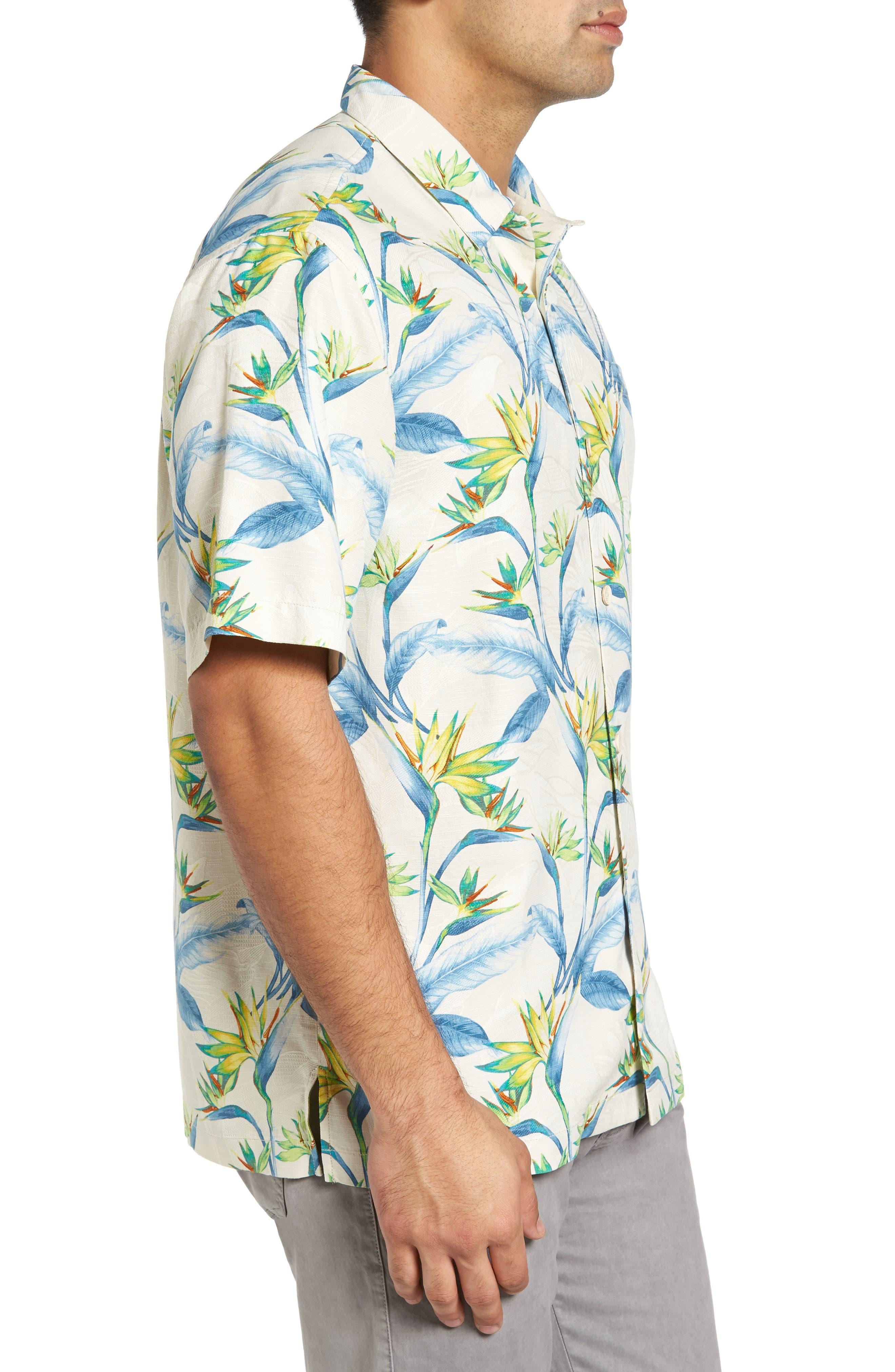 Porto de Paradise Silk Sport Shirt,                             Alternate thumbnail 3, color,                             100