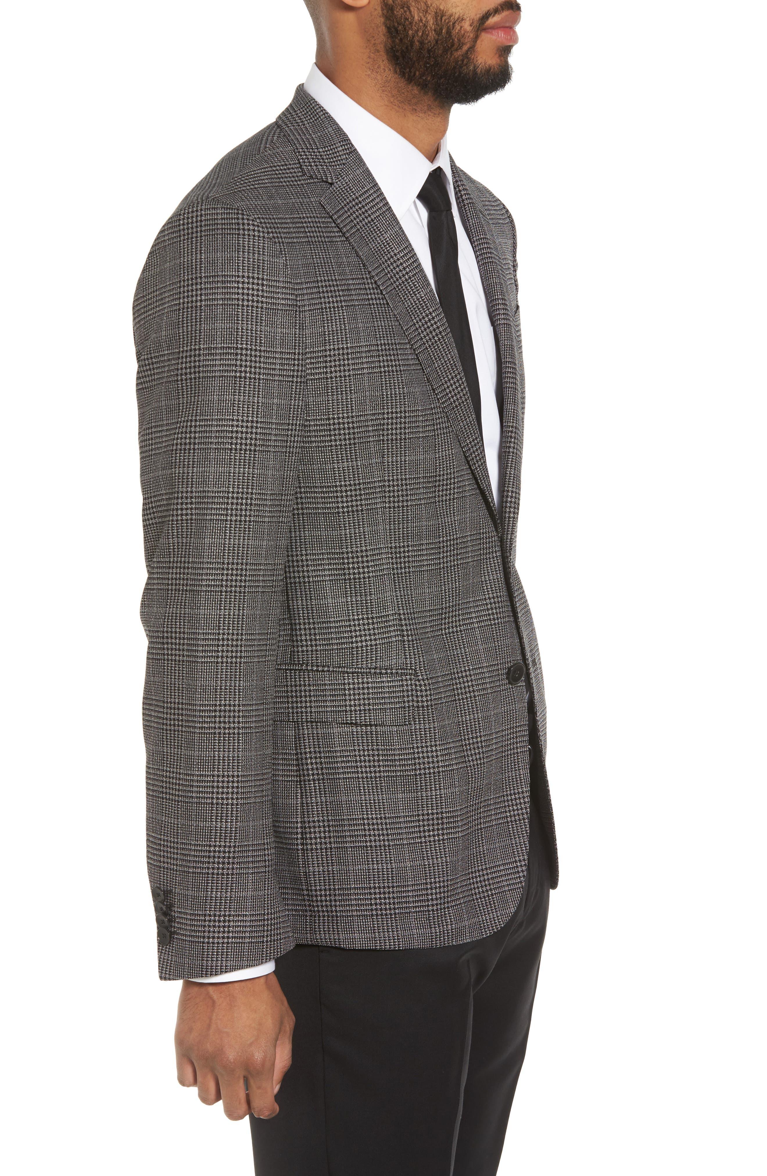 Nobis Trim Fit Plaid Wool & Silk Blend Sport Coat,                             Alternate thumbnail 3, color,                             OPEN GREY