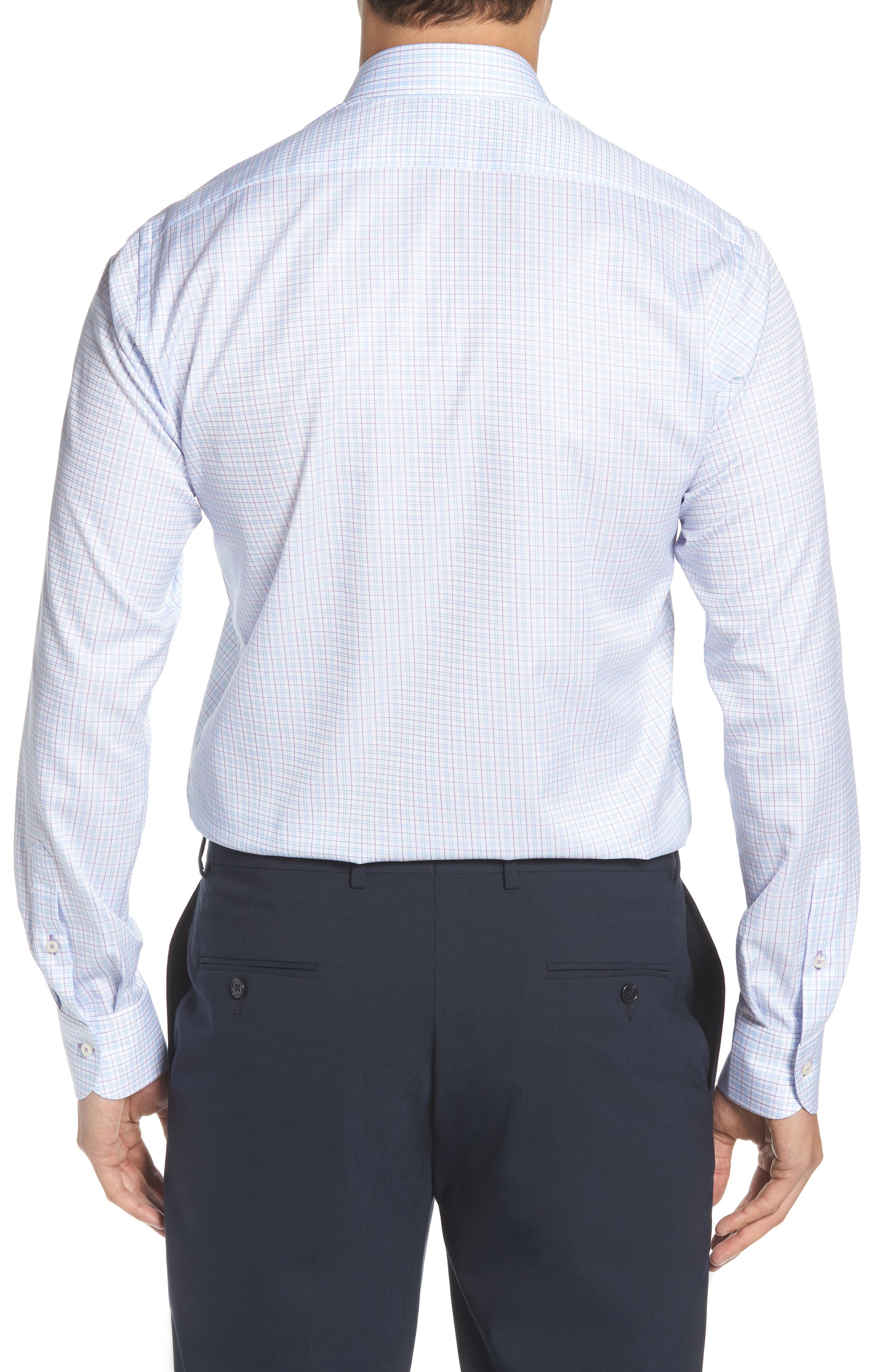 Regular Fit Check Dress Shirt,                             Alternate thumbnail 3, color,                             WHITE MULTI