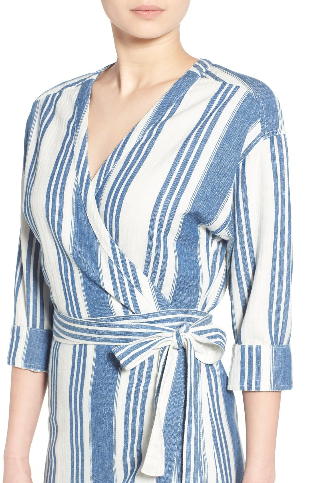 'Linn Stripe' Wrap Midi Dress,                             Alternate thumbnail 2, color,                             400