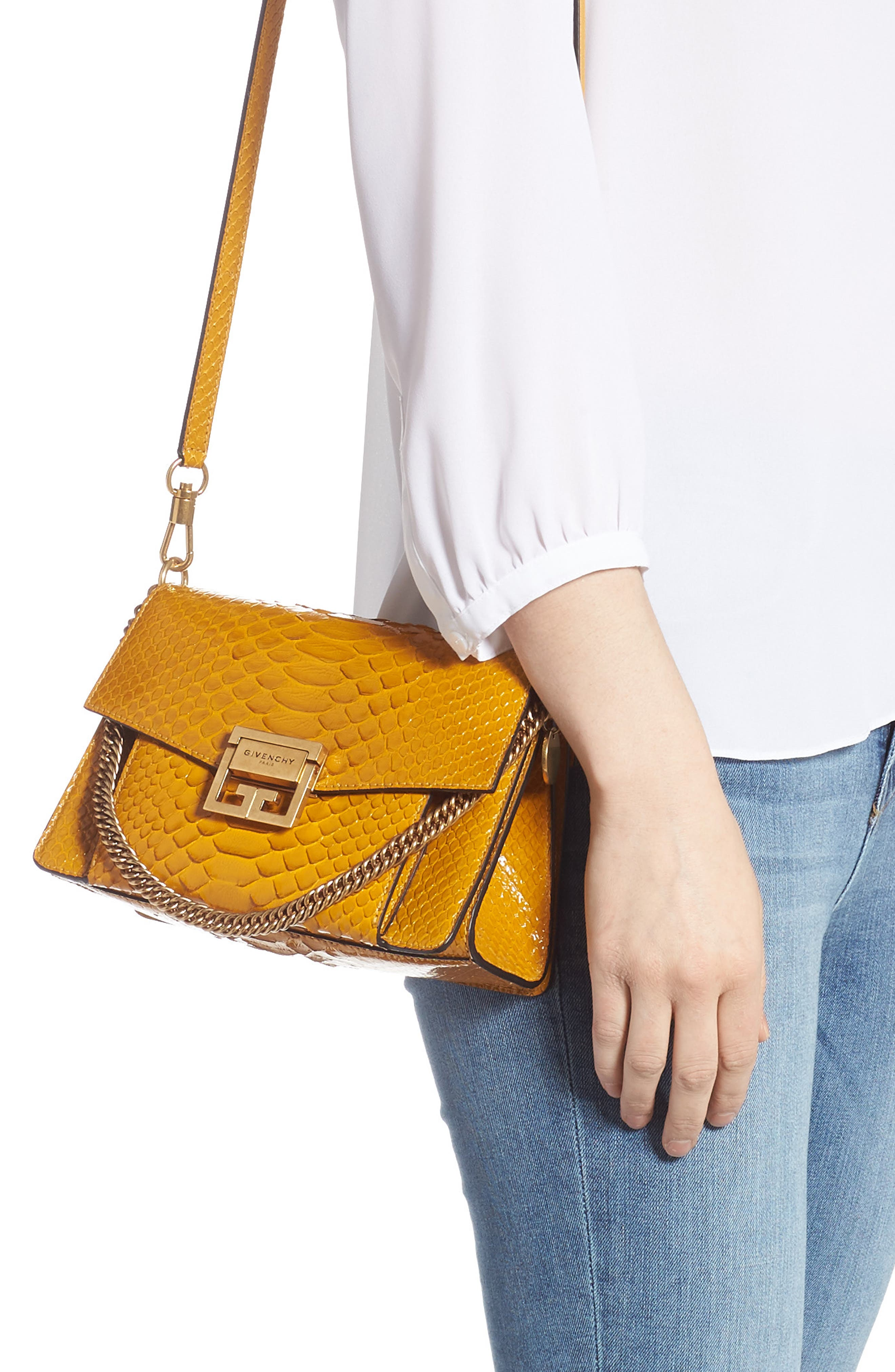 Small GV3 Genuine Python Shoulder Bag,                             Alternate thumbnail 2, color,                             GOLDEN