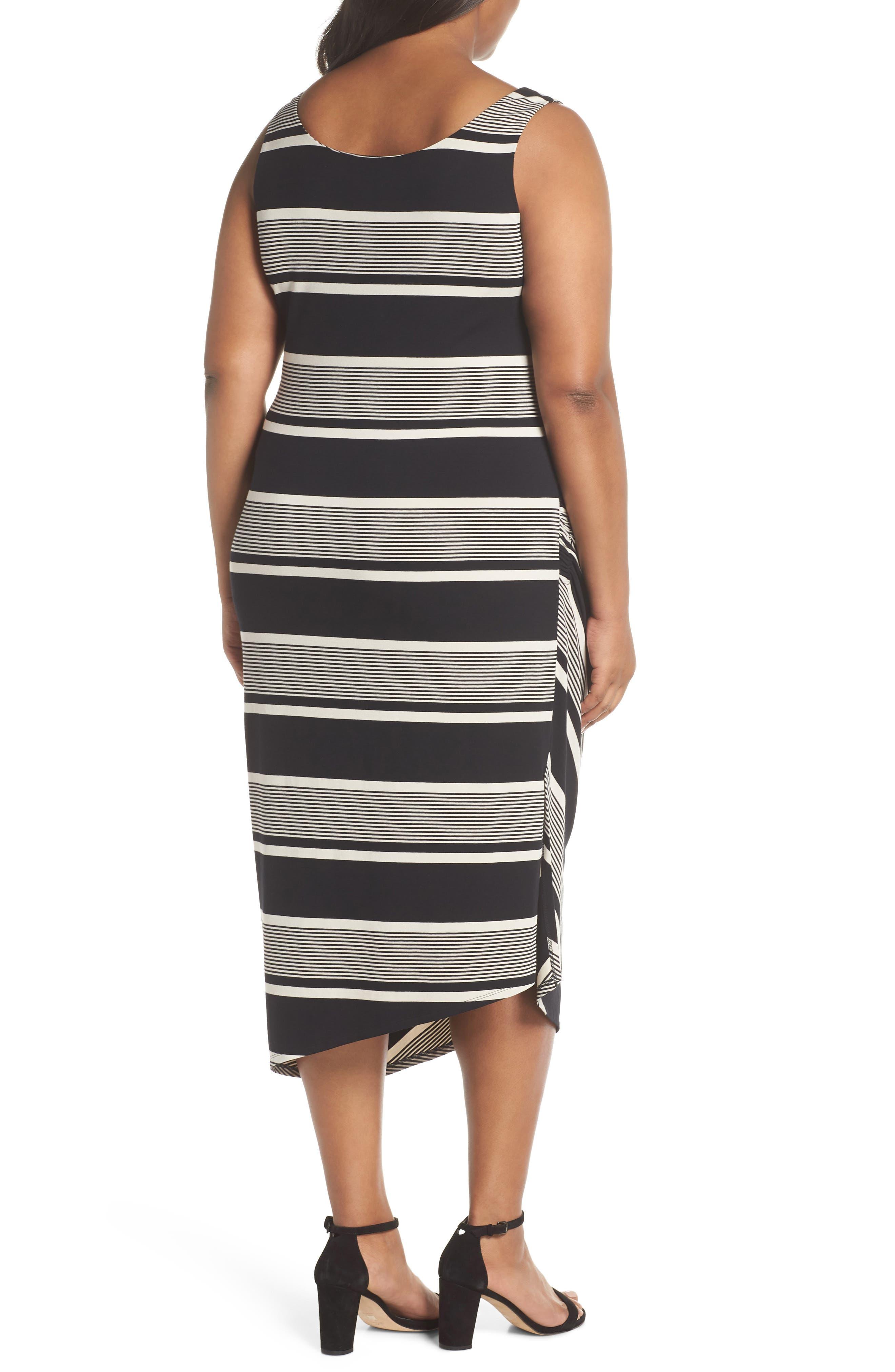 Venue Block Stripe Ruched Body-Con Dress,                             Alternate thumbnail 2, color,                             RICH BLACK