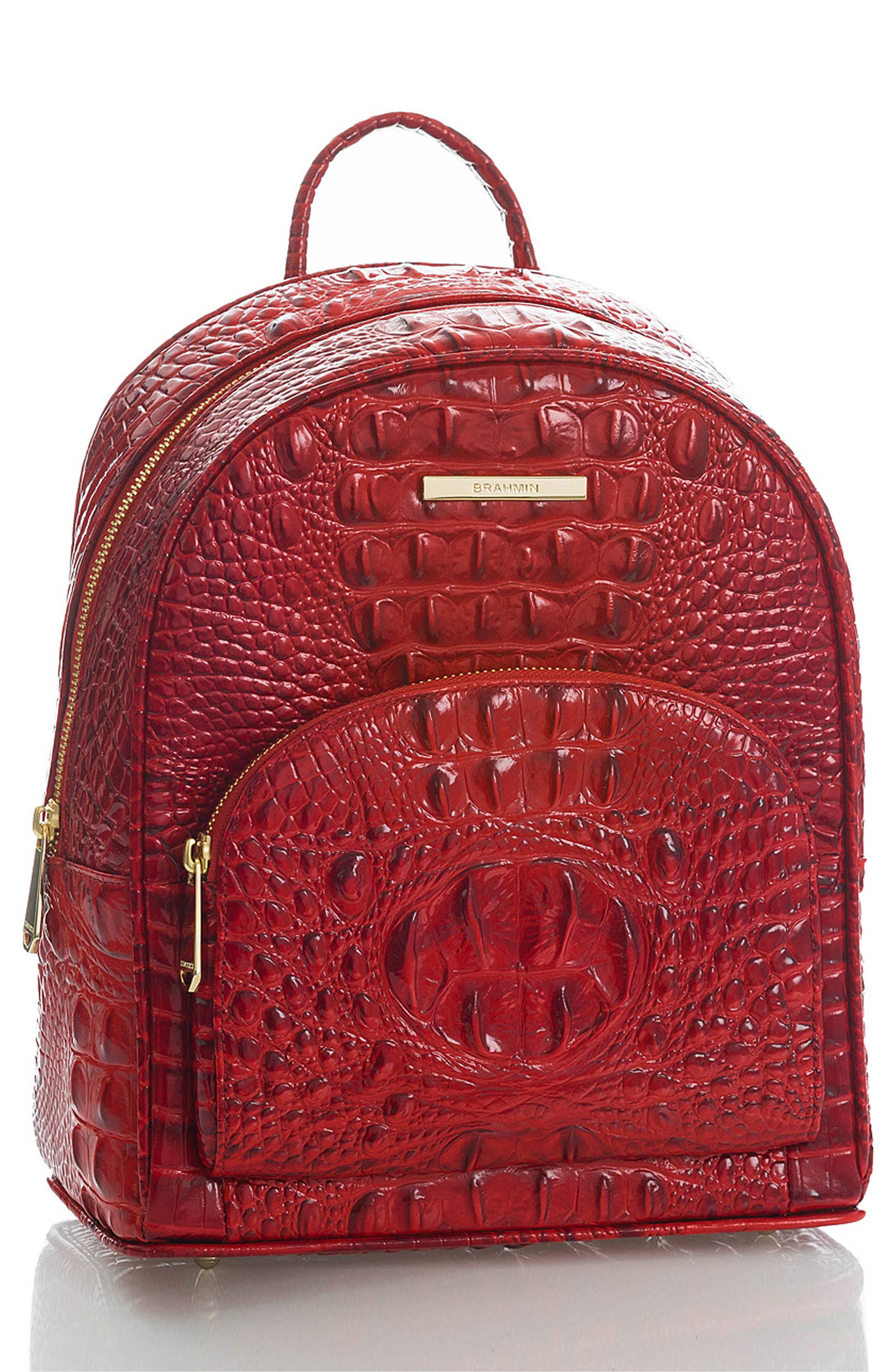 Mini Dartmouth Leather Backpack,                             Alternate thumbnail 4, color,                             SCARLET