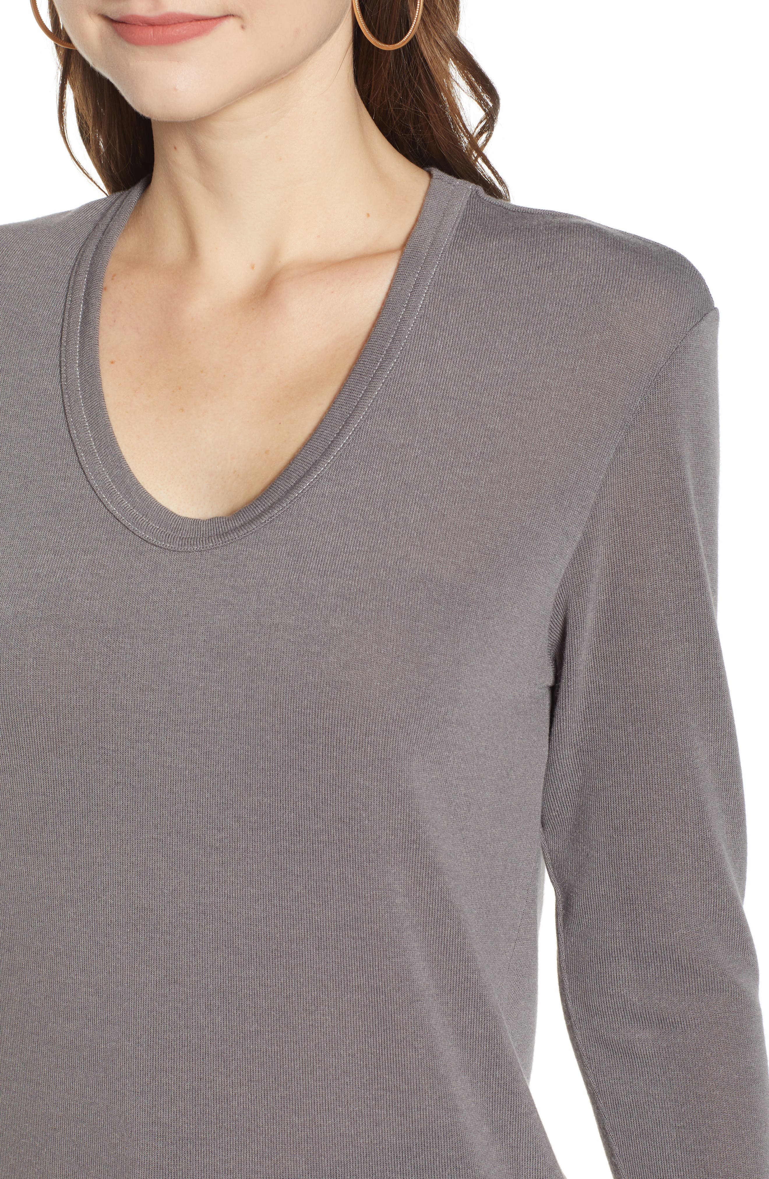 Ribbed U-Neck Top,                             Alternate thumbnail 4, color,                             GREY CHARCOAL