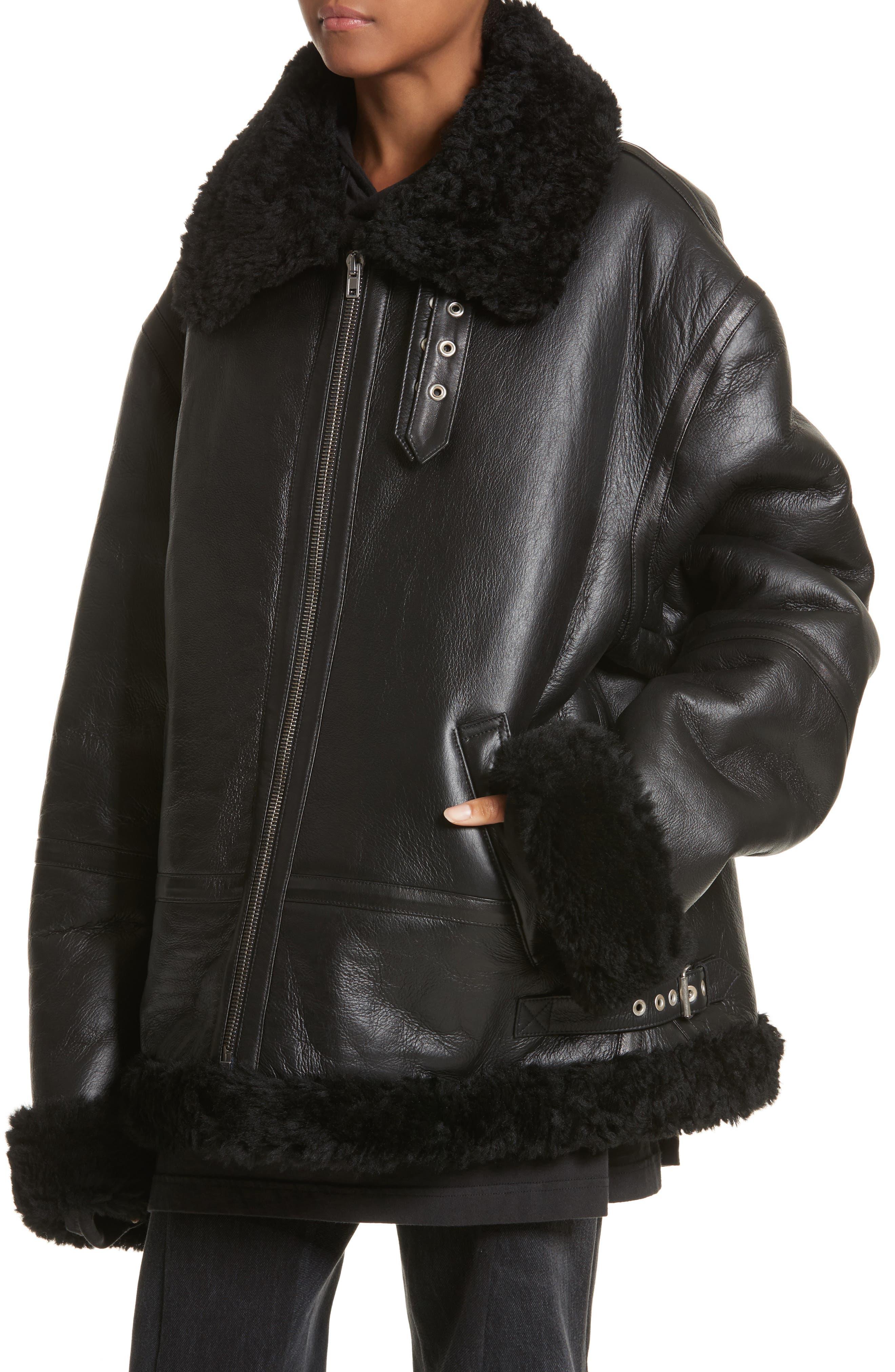 Genuine Shearling Jacket,                             Alternate thumbnail 4, color,                             001