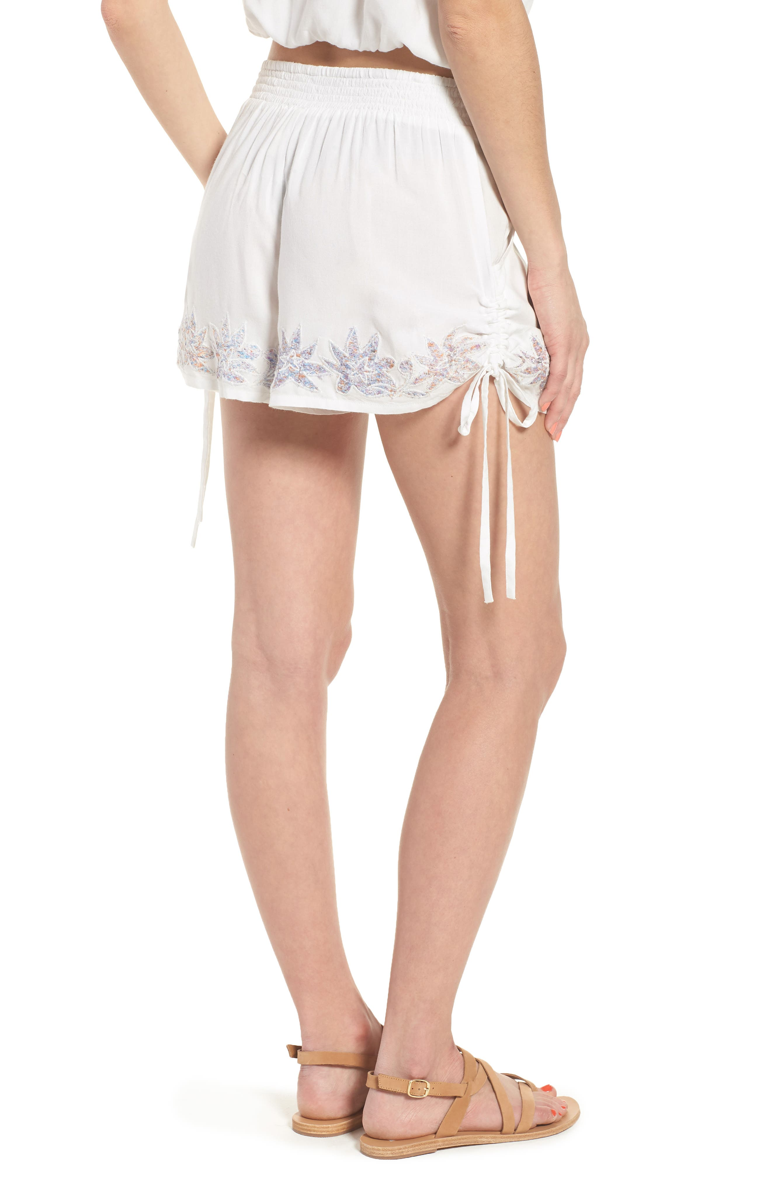 Lotus Love Side Tie Shorts,                             Alternate thumbnail 2, color,                             100
