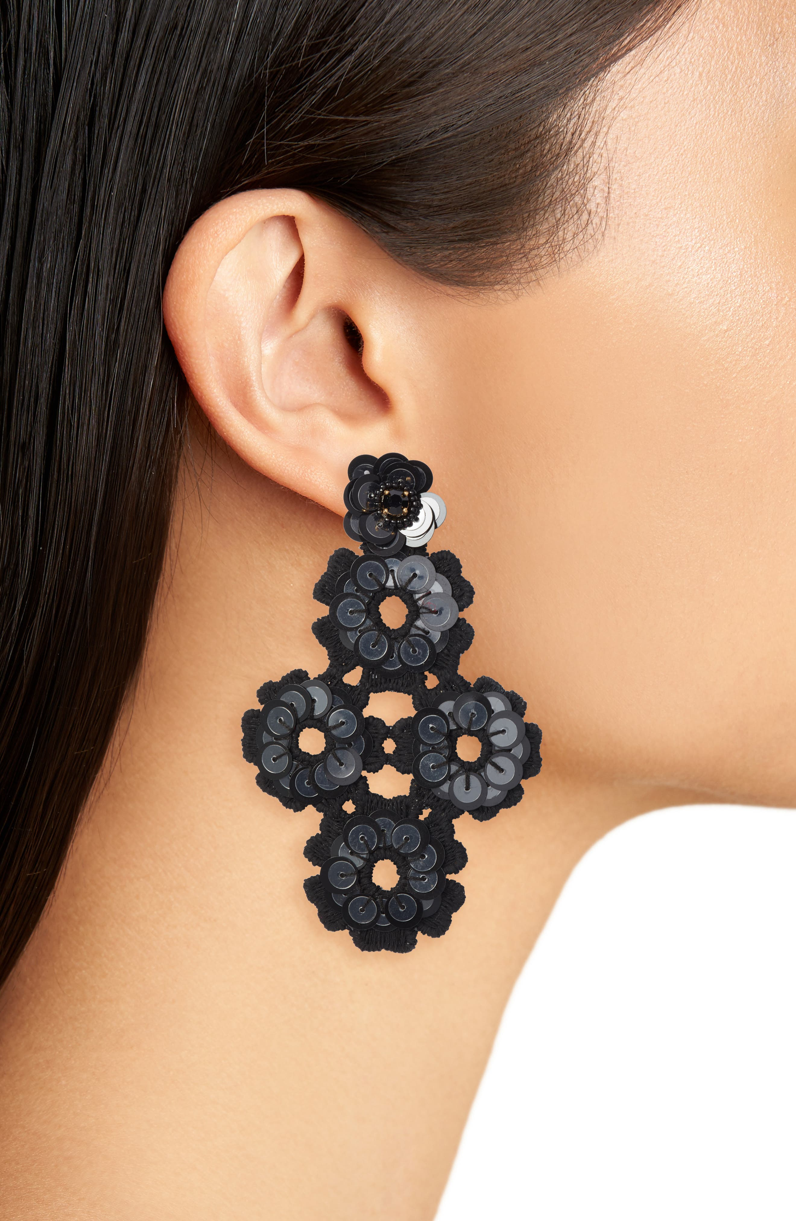 posy grove sequin statement earrings,                             Alternate thumbnail 2, color,                             001