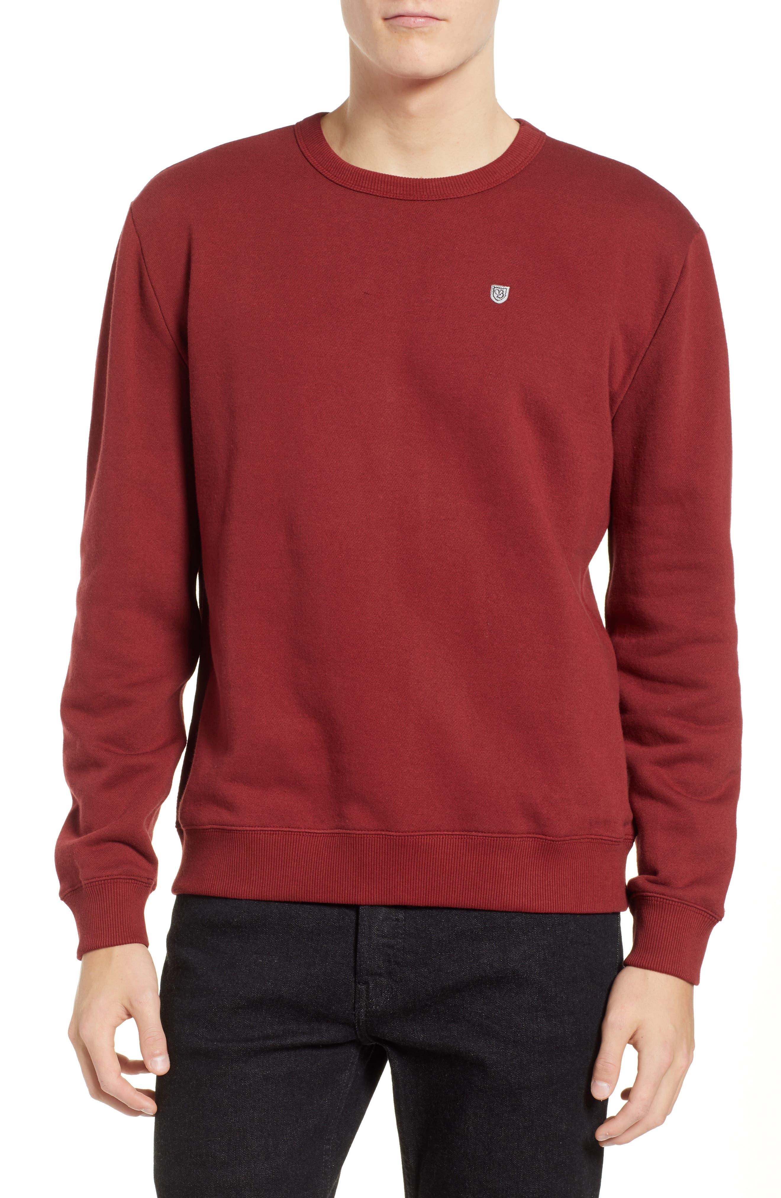 B-Shield Appliqué Crewneck Sweatshirt,                             Main thumbnail 1, color,                             RED