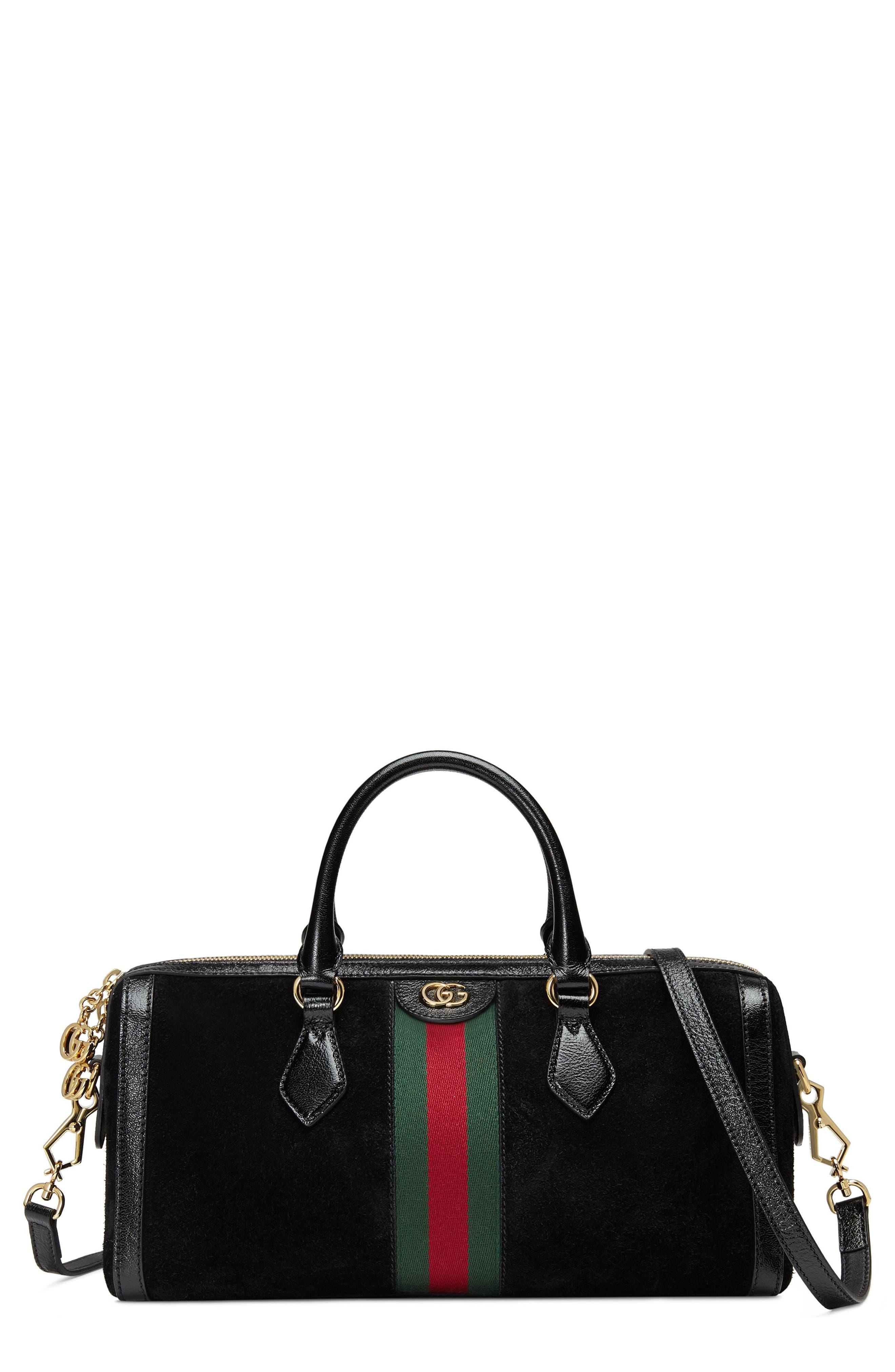 Ophidia Suede Top Handle Bag,                         Main,                         color, NERO/ NERO/ VERT RED VERT