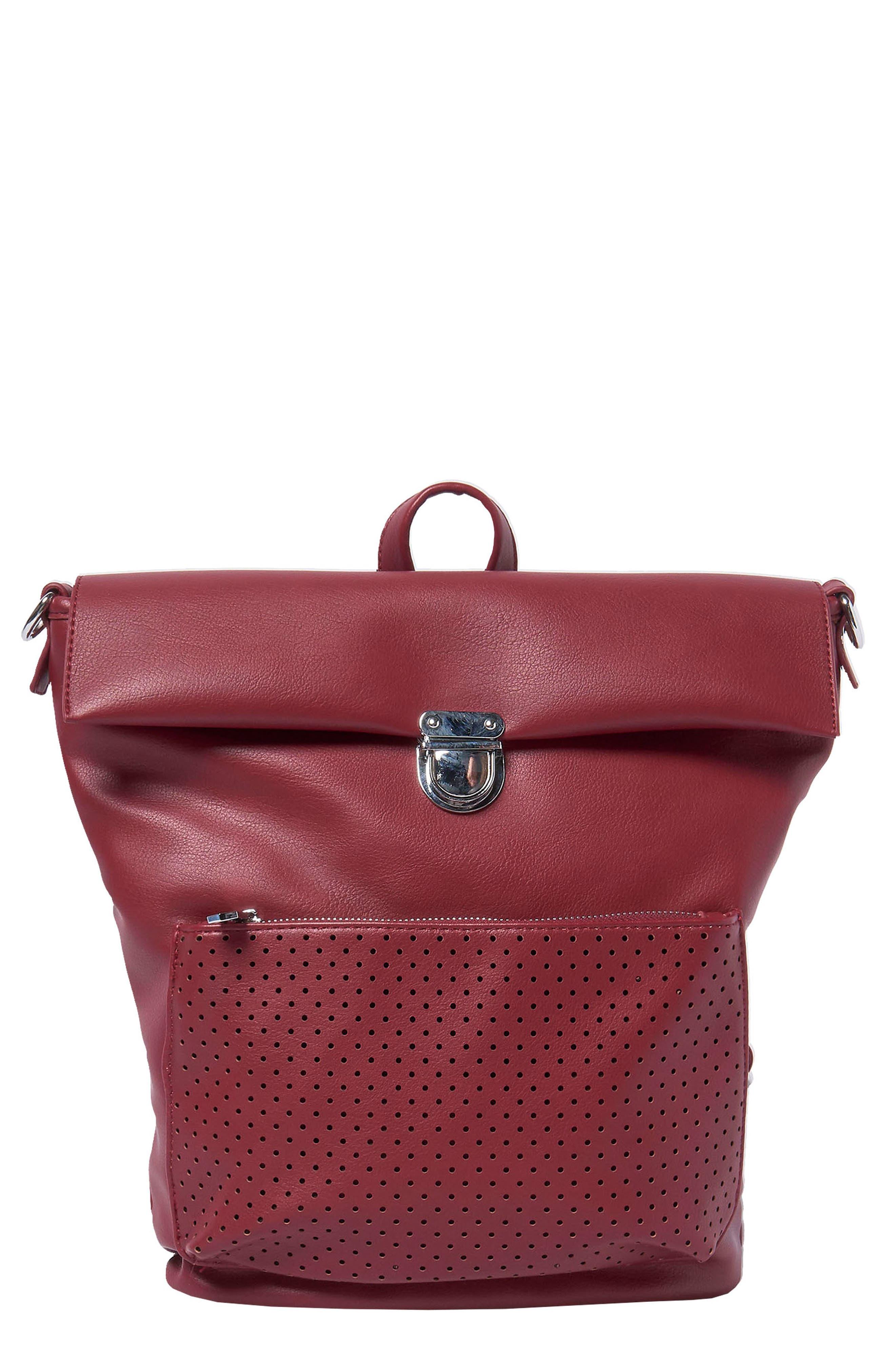 Solo Origin Vegan Leather Convertible Backpack - Burgundy in Berry