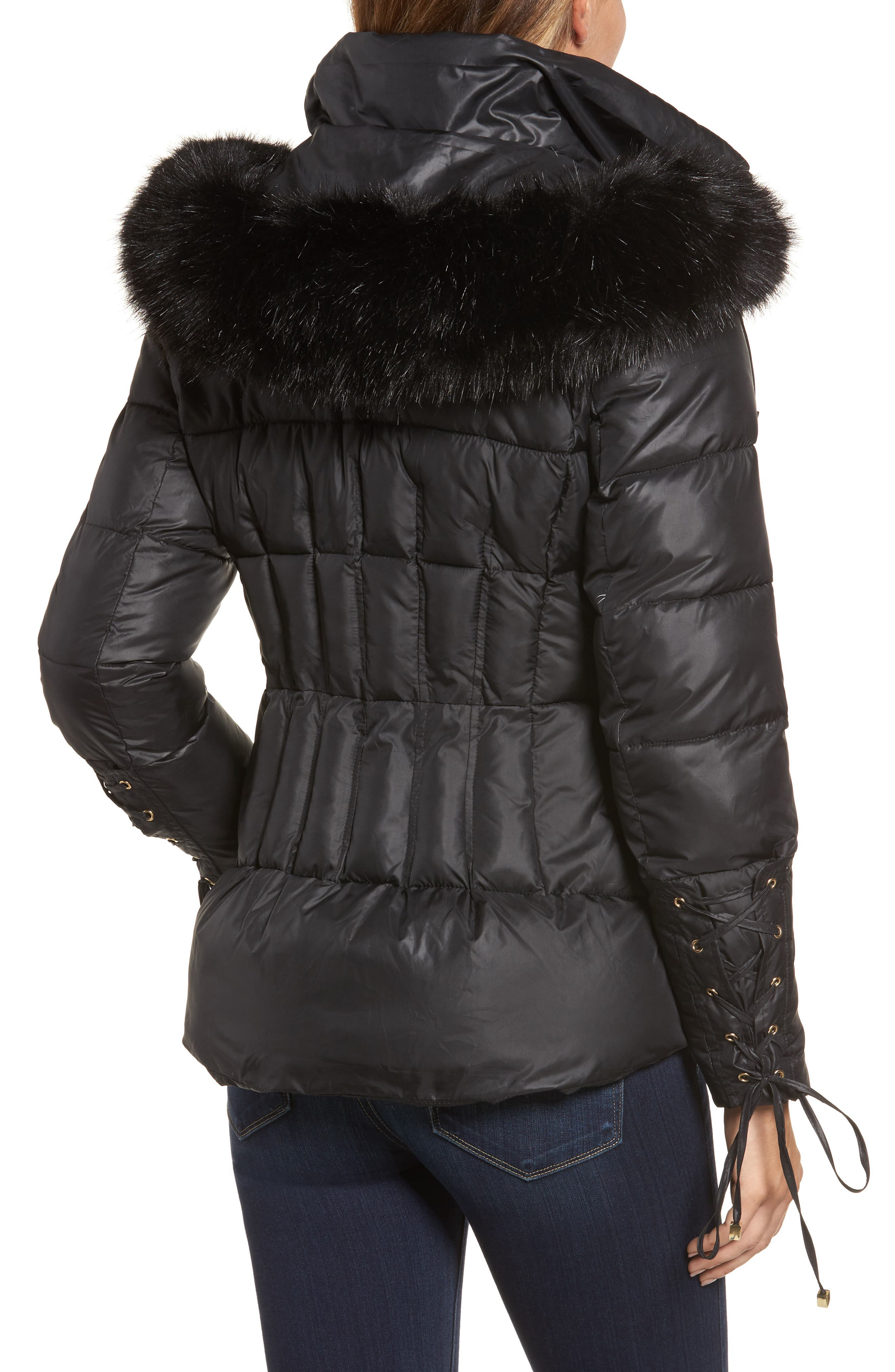 Lace Sleeve Puffer Coat with Faux Fur Trim Hood,                             Alternate thumbnail 3, color,