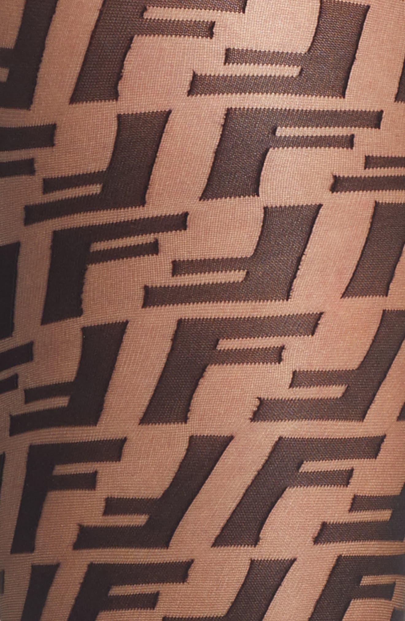 FENDI,                             Double F Logo Tights,                             Alternate thumbnail 2, color,                             BLACK