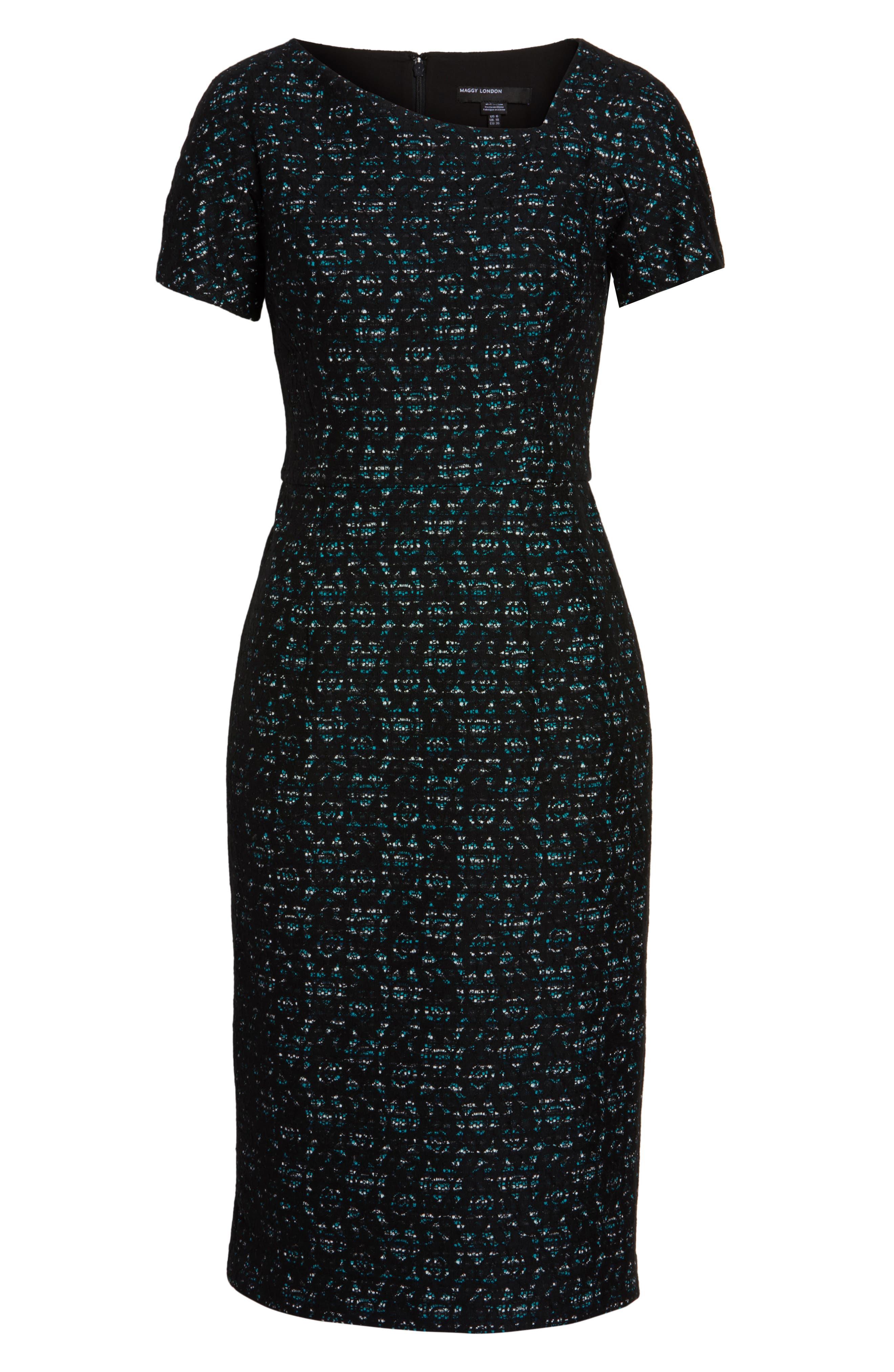 Bonded Lace Sheath Dress,                             Alternate thumbnail 6, color,                             400