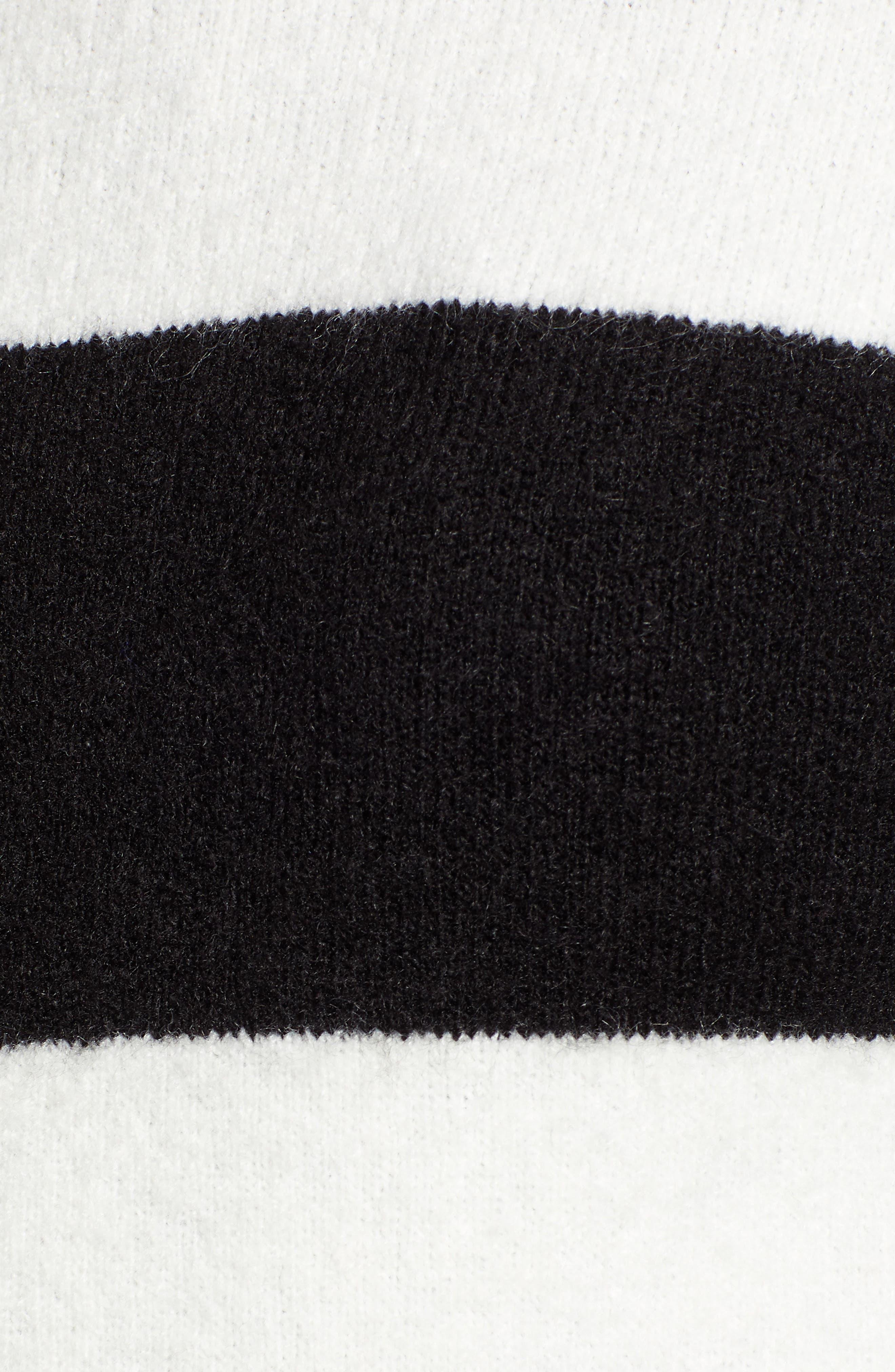 x Atlantic-Pacific Stripe Turtleneck Sweater,                             Alternate thumbnail 6, color,                             BLACK- IVORY STRIPE