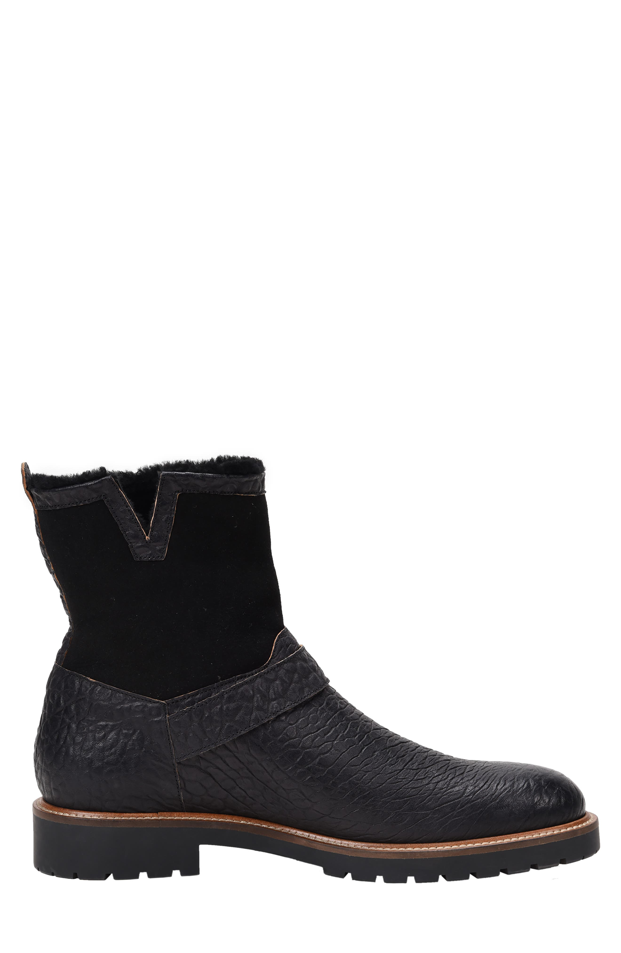 Federico Waterproof Genuine Shearling Lined Moto Boot,                             Alternate thumbnail 2, color,                             RUGGED BLACK