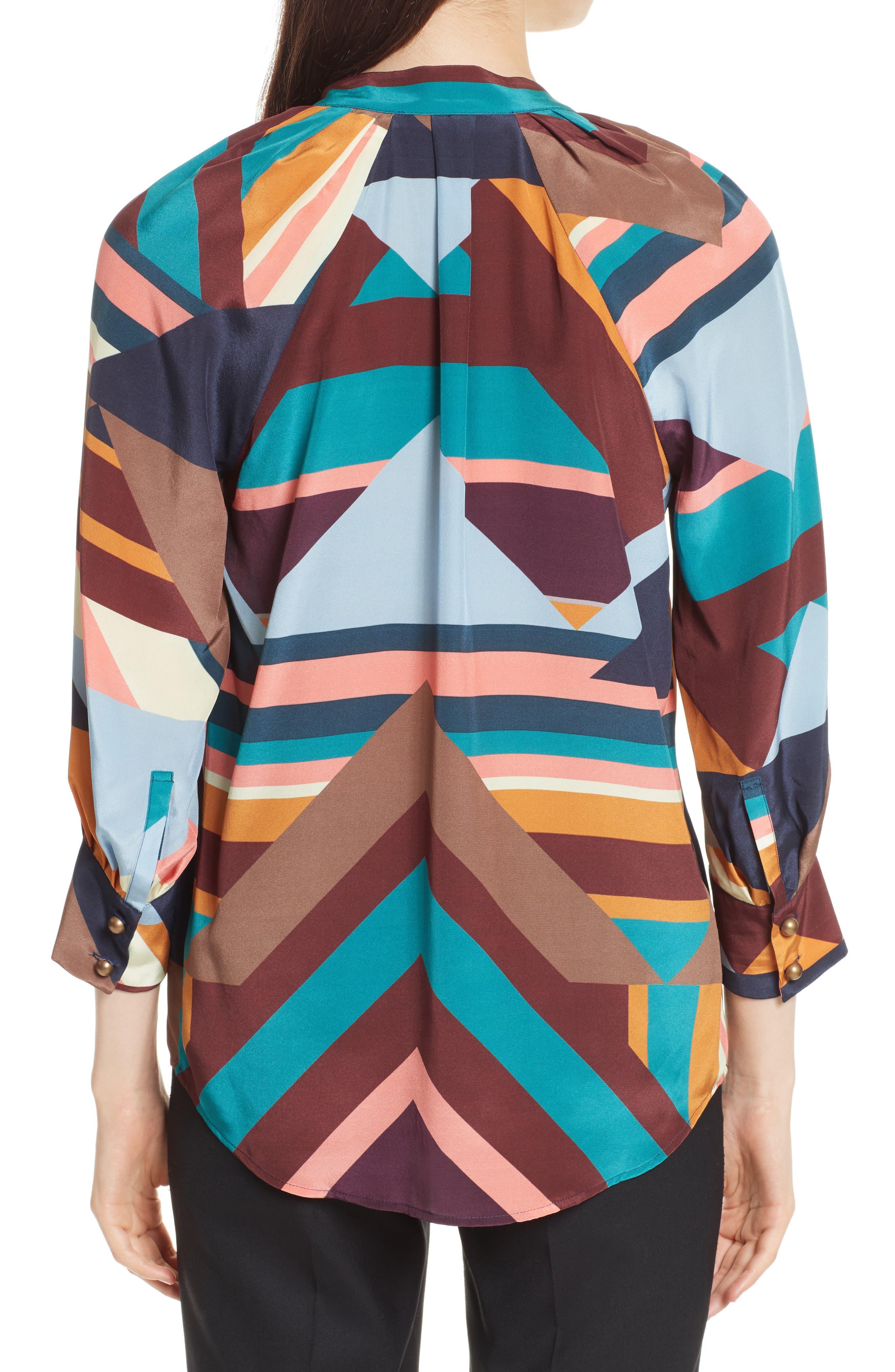 Geometric Print Silk Peasant Blouse,                             Alternate thumbnail 2, color,                             400