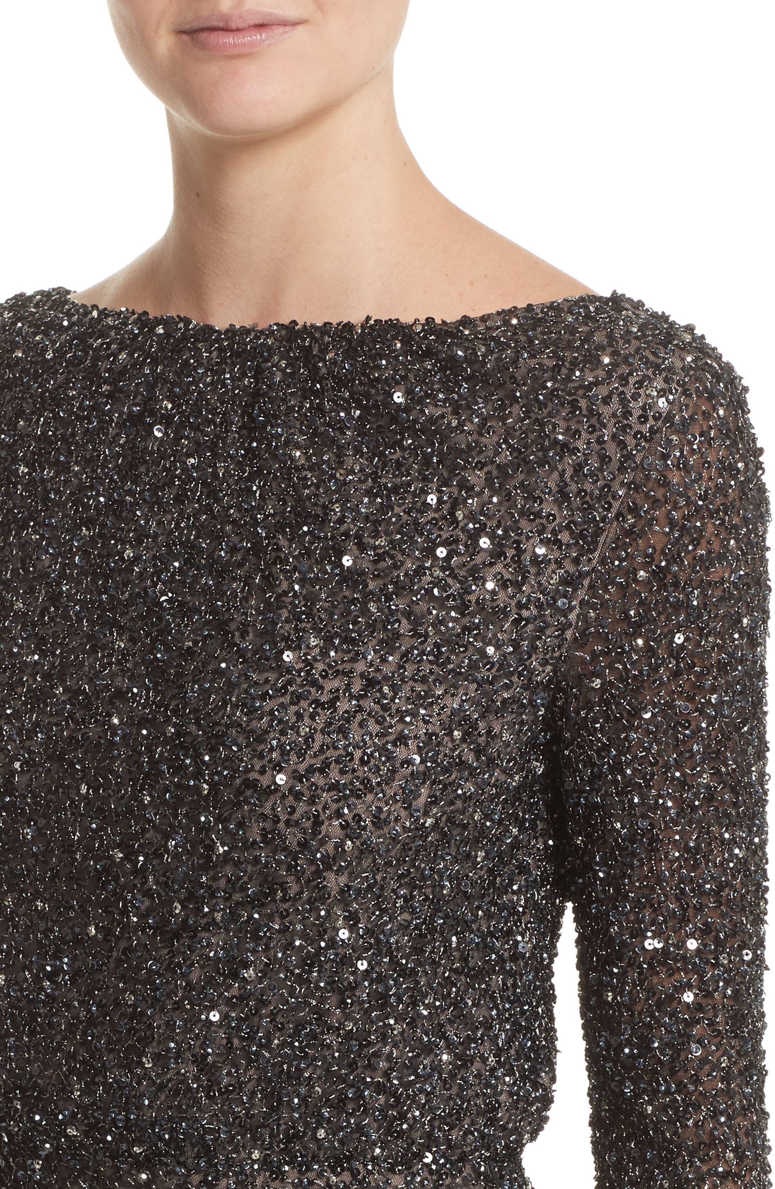 Viera Embellished V-Back Sheath Dress,                             Alternate thumbnail 4, color,                             001