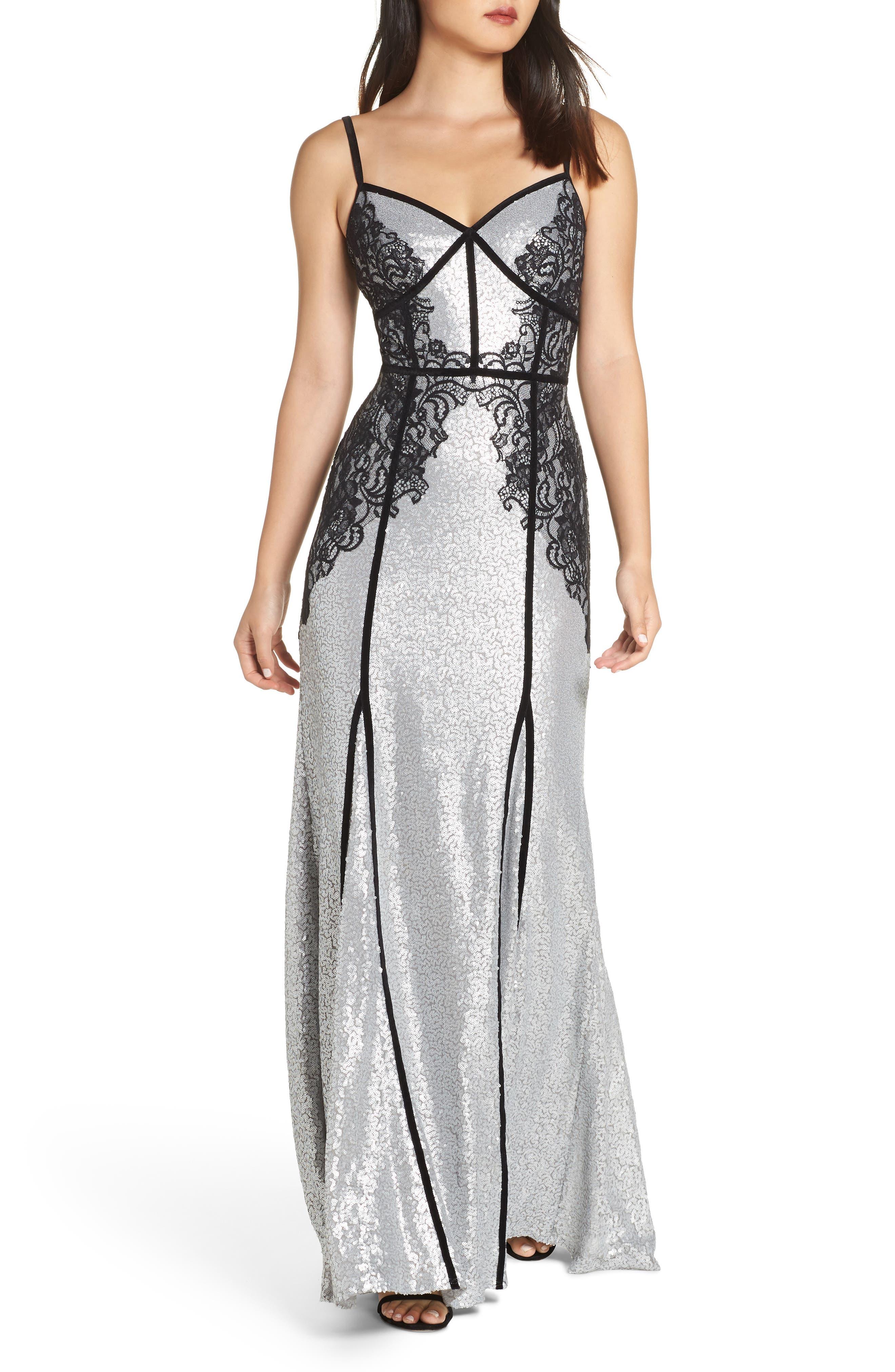 Tadashi Shoji Sleeveless Sequin & Lace Gown, Metallic
