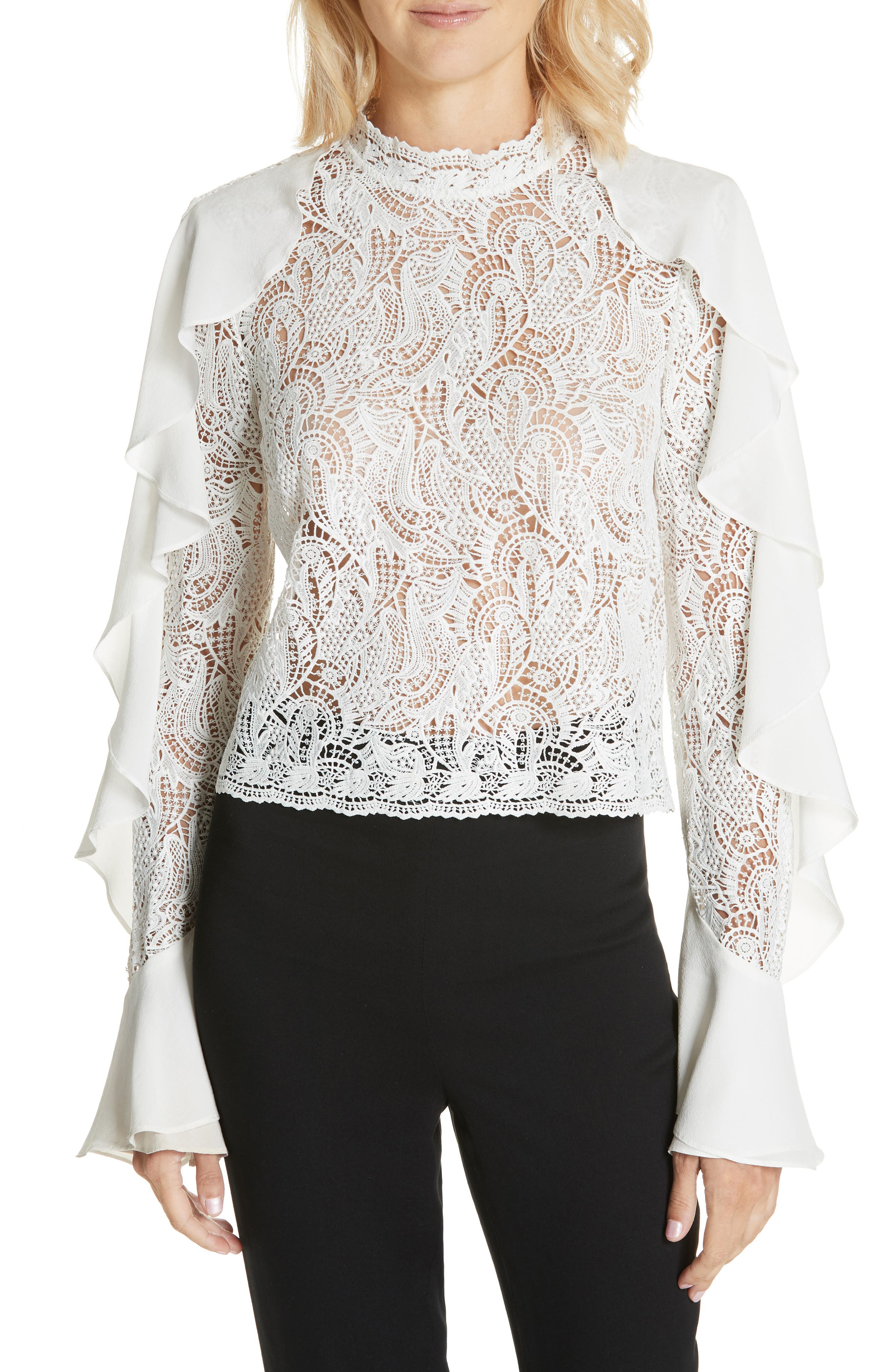 AMUR Ilana Crop Ruffle & Lace Top in White
