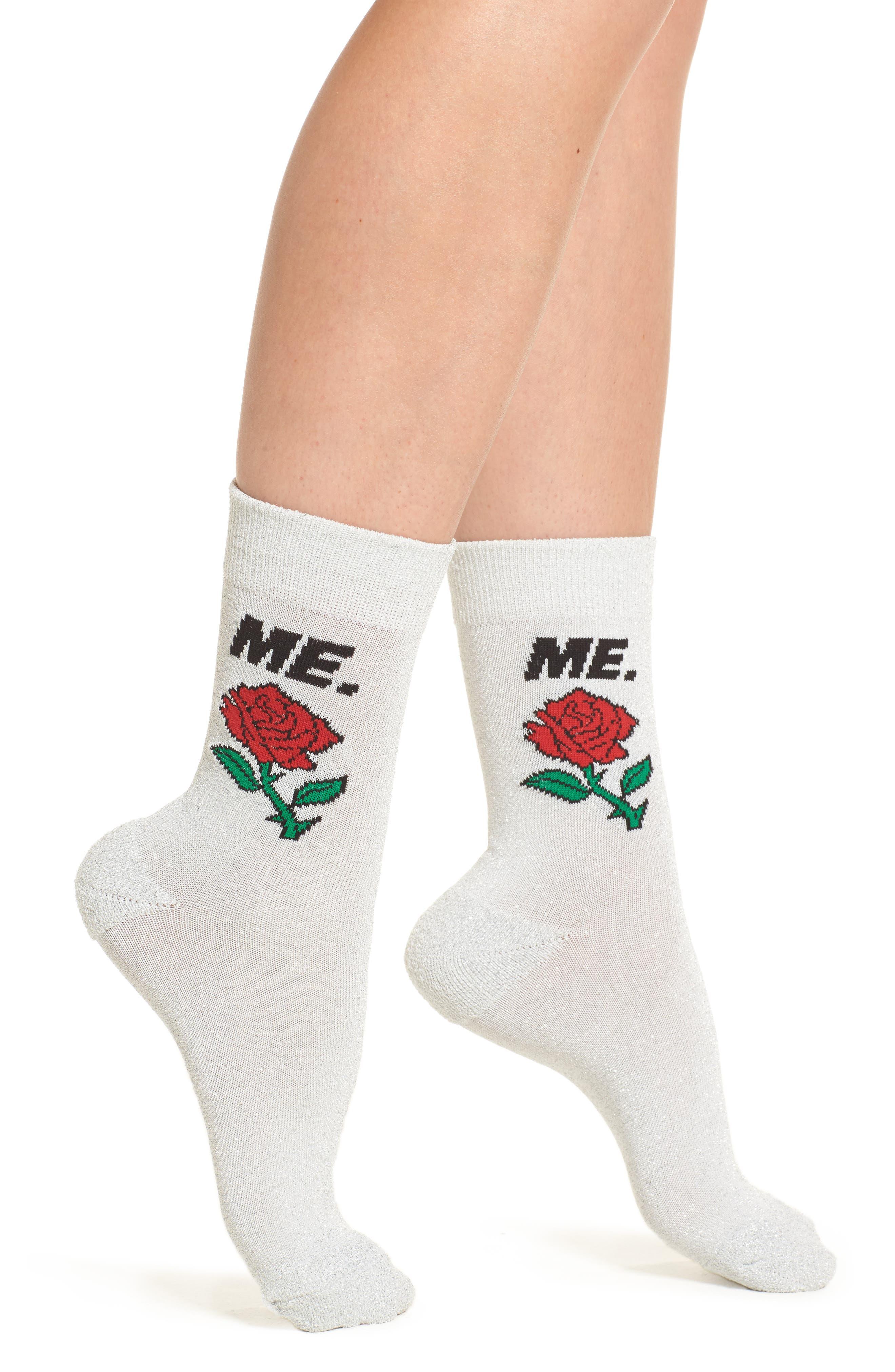 ME Rose Glitter Socks,                         Main,                         color, 040