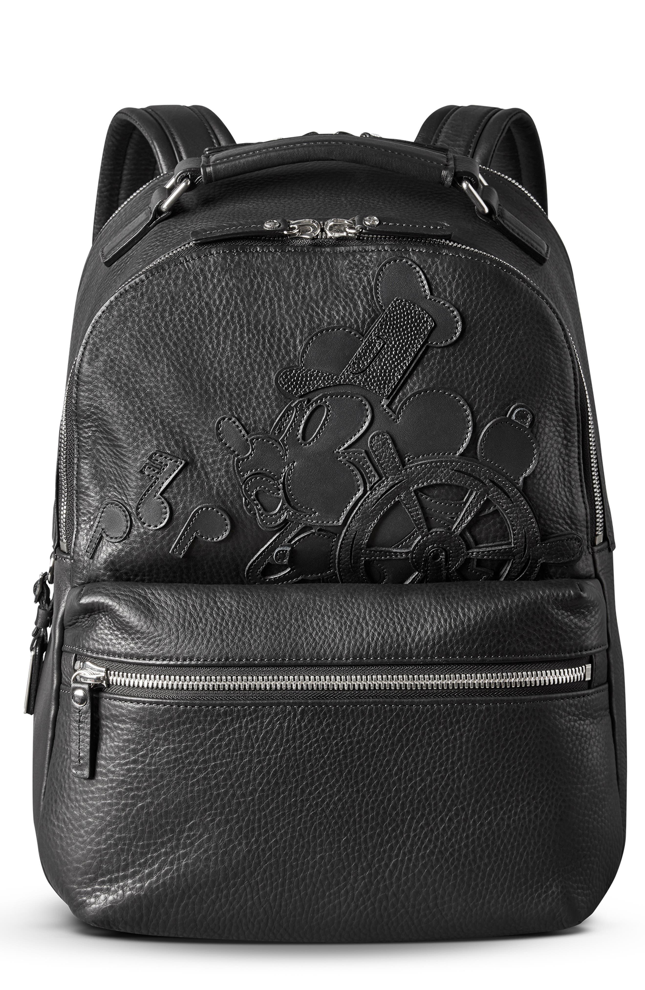 x Disney Runwell Leather Backpack,                             Main thumbnail 1, color,                             BLACK