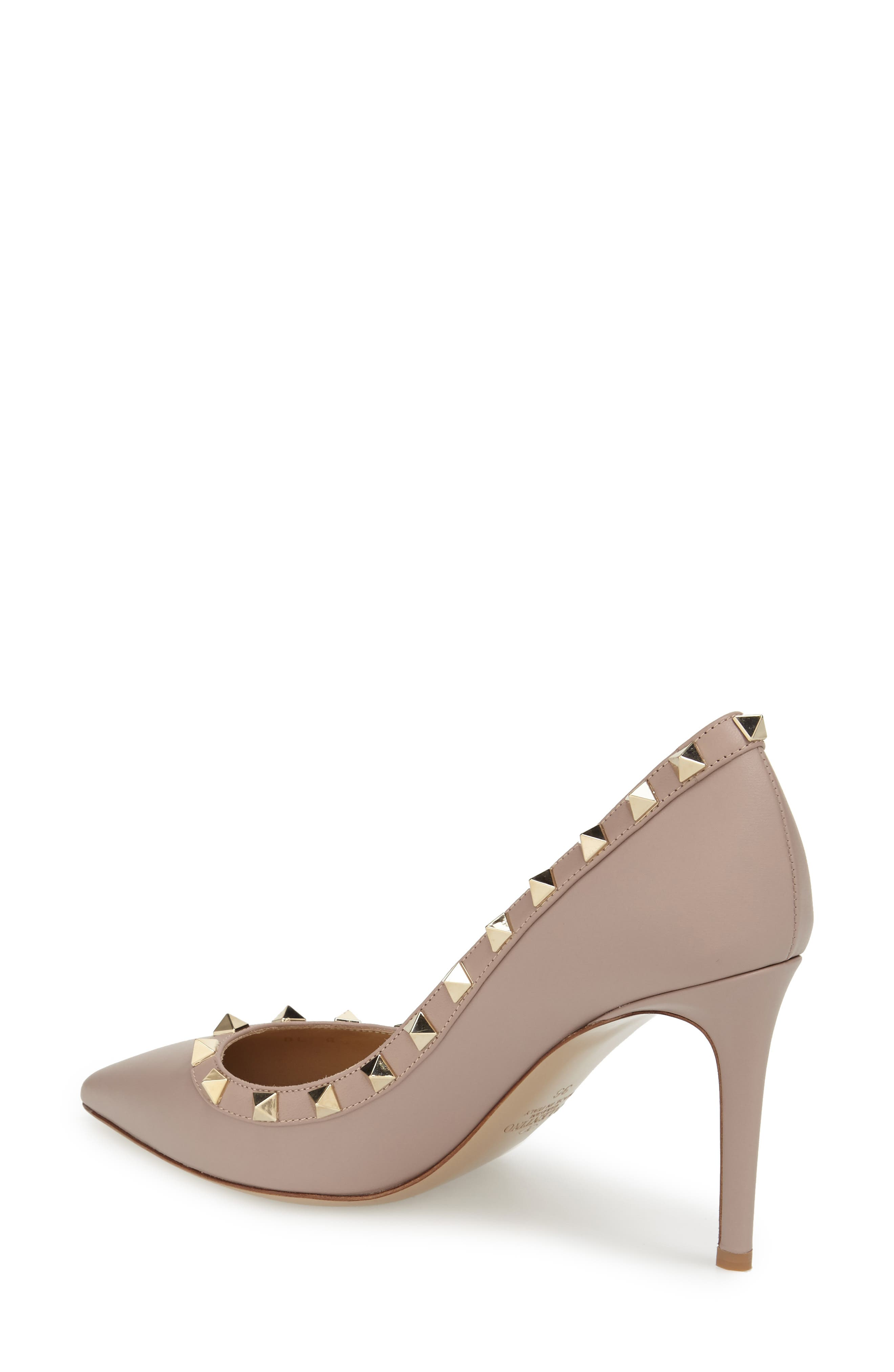 Rockstud Pointy Toe Pump,                             Alternate thumbnail 3, color,                             POUDRE LEATHER