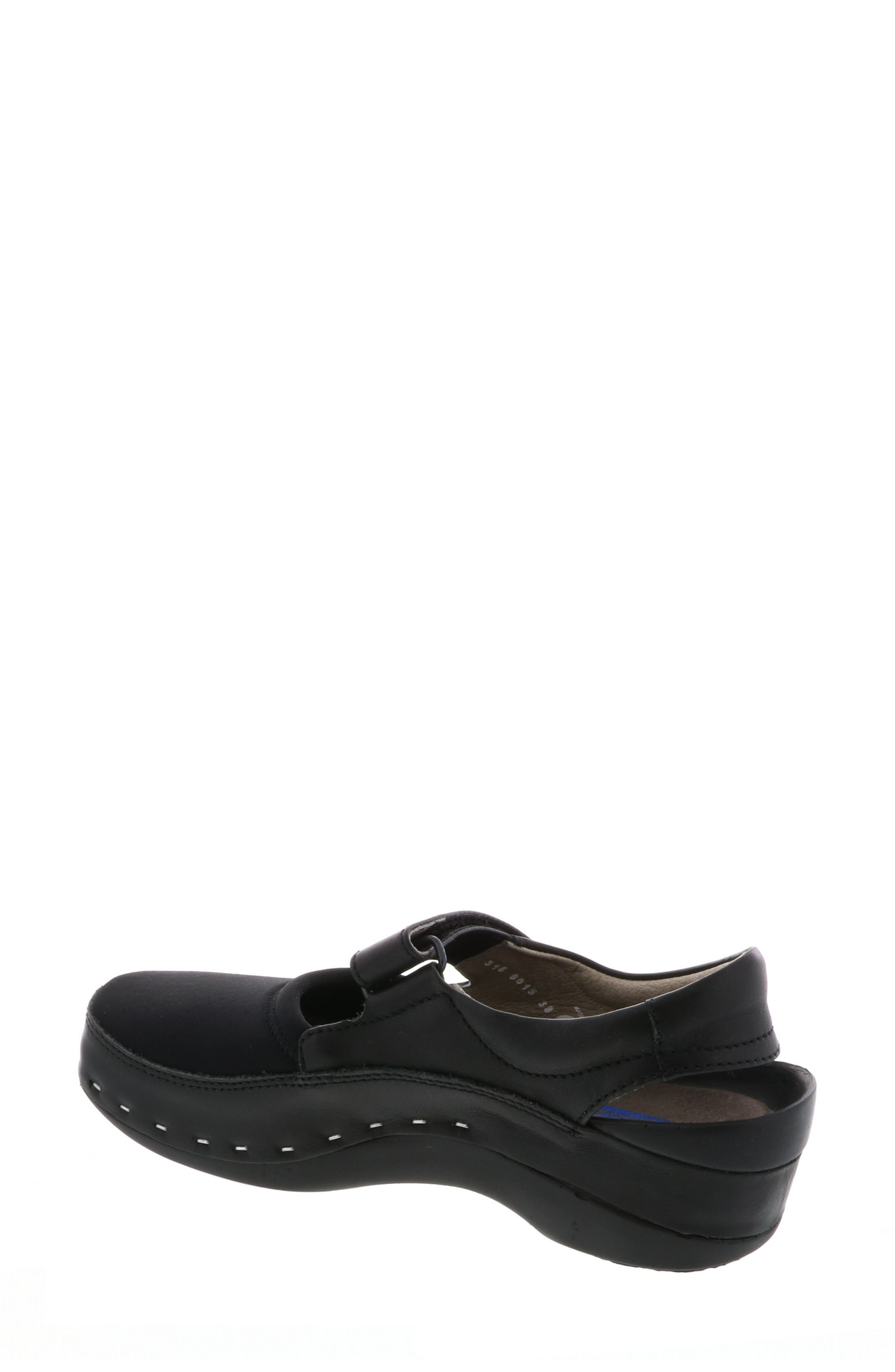 WOLKY,                             Ankle Strap Clog,                             Alternate thumbnail 2, color,                             BLACK LEATHER