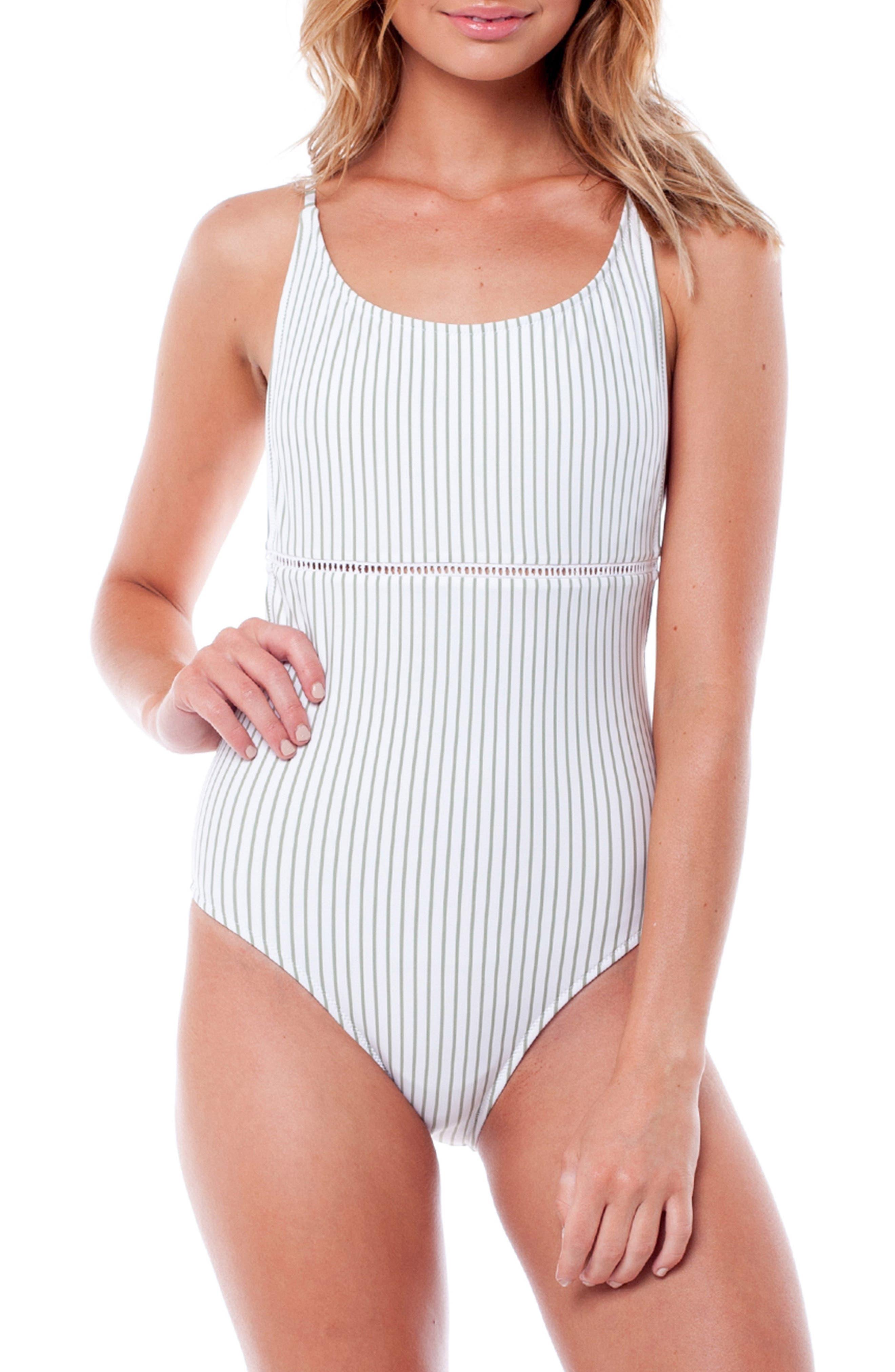 Summer Stripe One-Piece Swimsuit,                             Main thumbnail 1, color,                             CACTUS