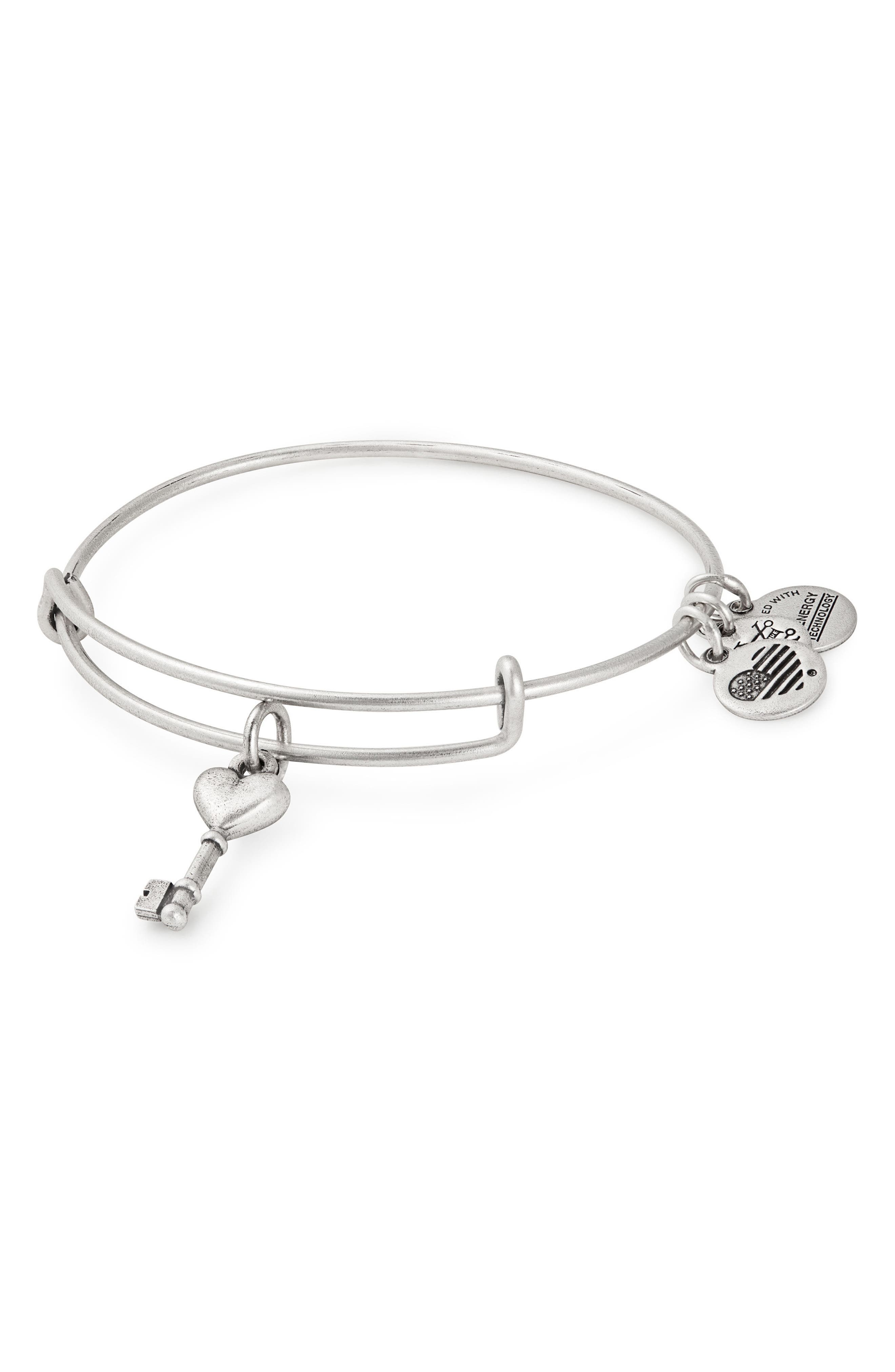 Key to Love Adjustable Wire Bangle,                             Main thumbnail 1, color,                             040