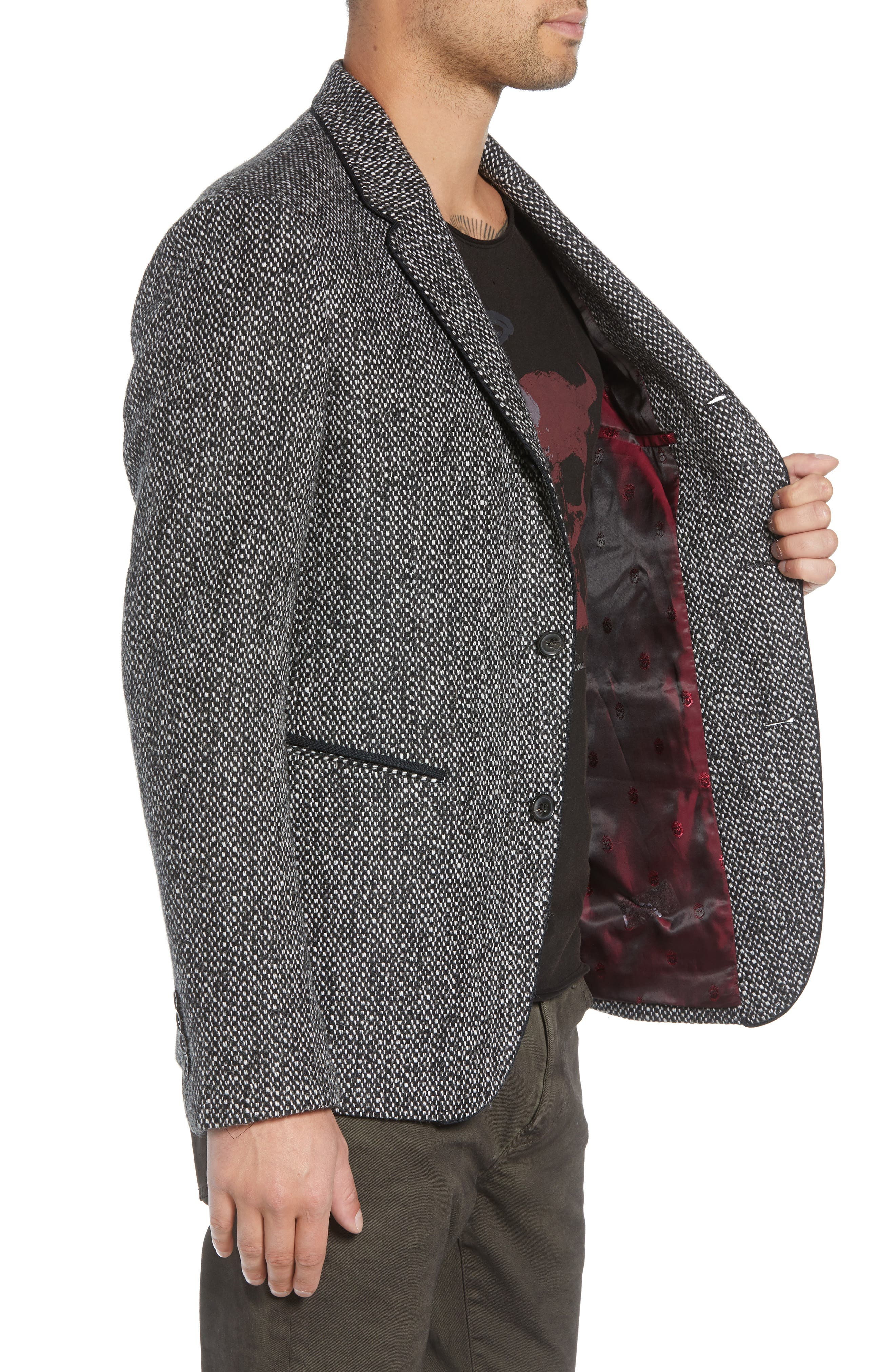 Piped Tweed Wool Blend Sport Coat,                             Alternate thumbnail 3, color,                             006