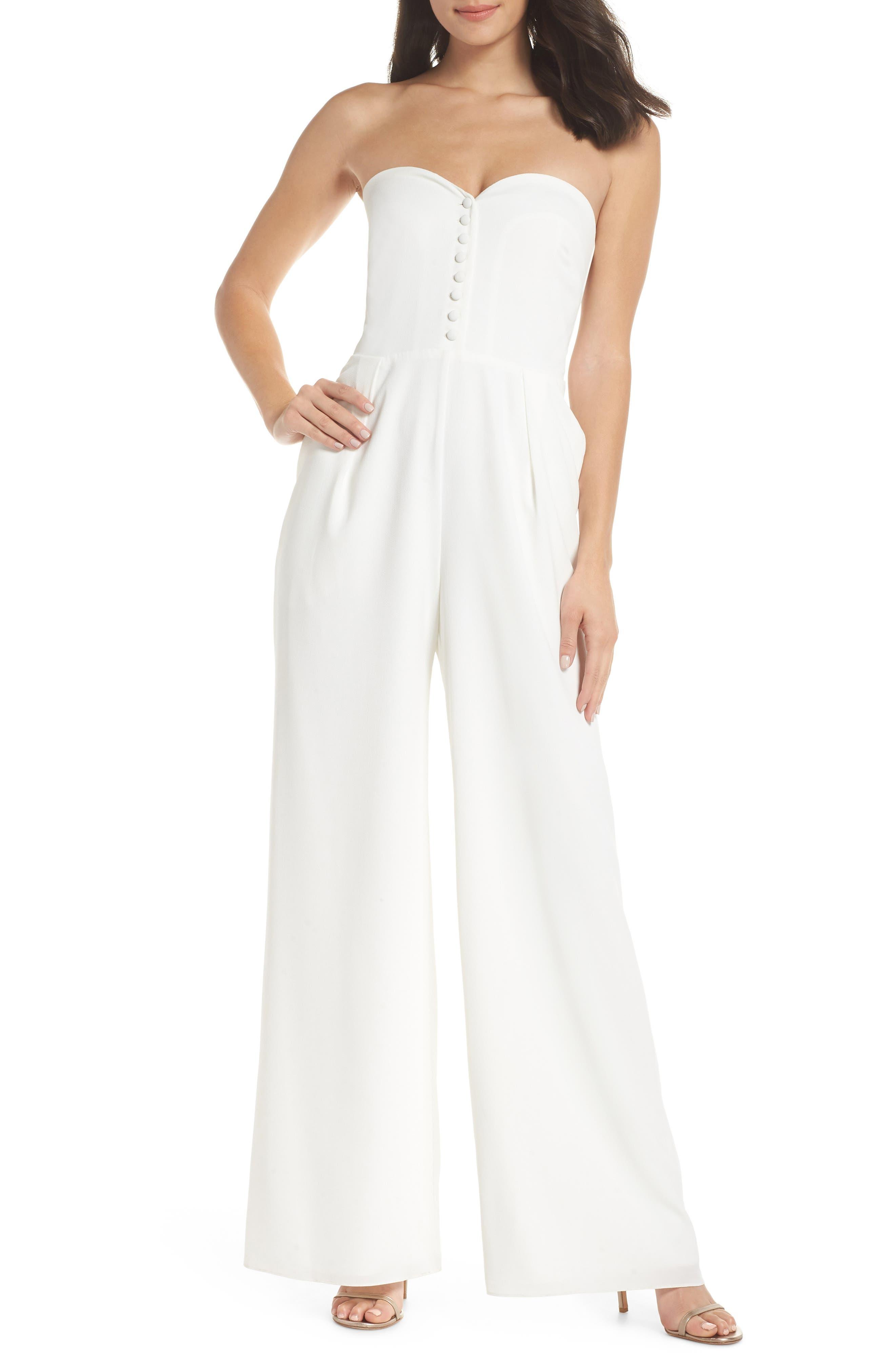 JOANNA AUGUST Aretha Strapless Jumpsuit in White