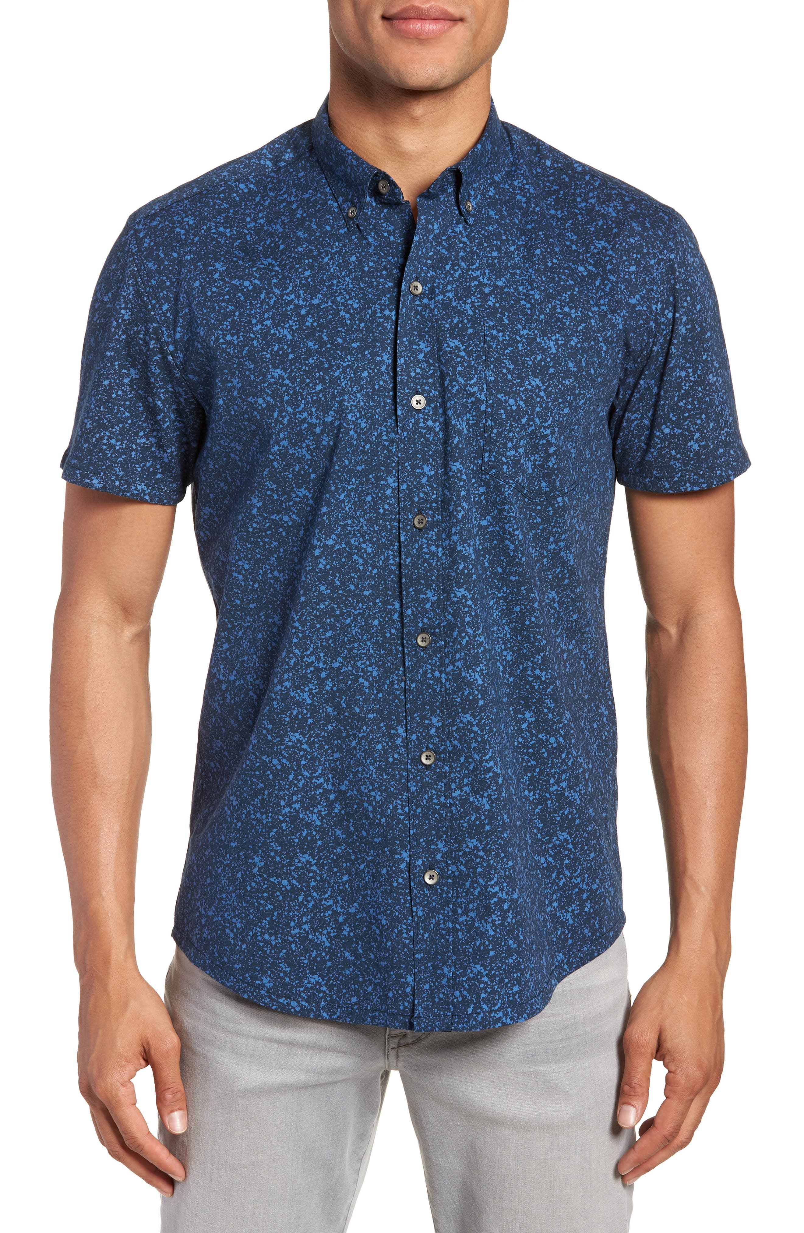 Slim Fit Splatter Sport Shirt,                         Main,                         color, 410