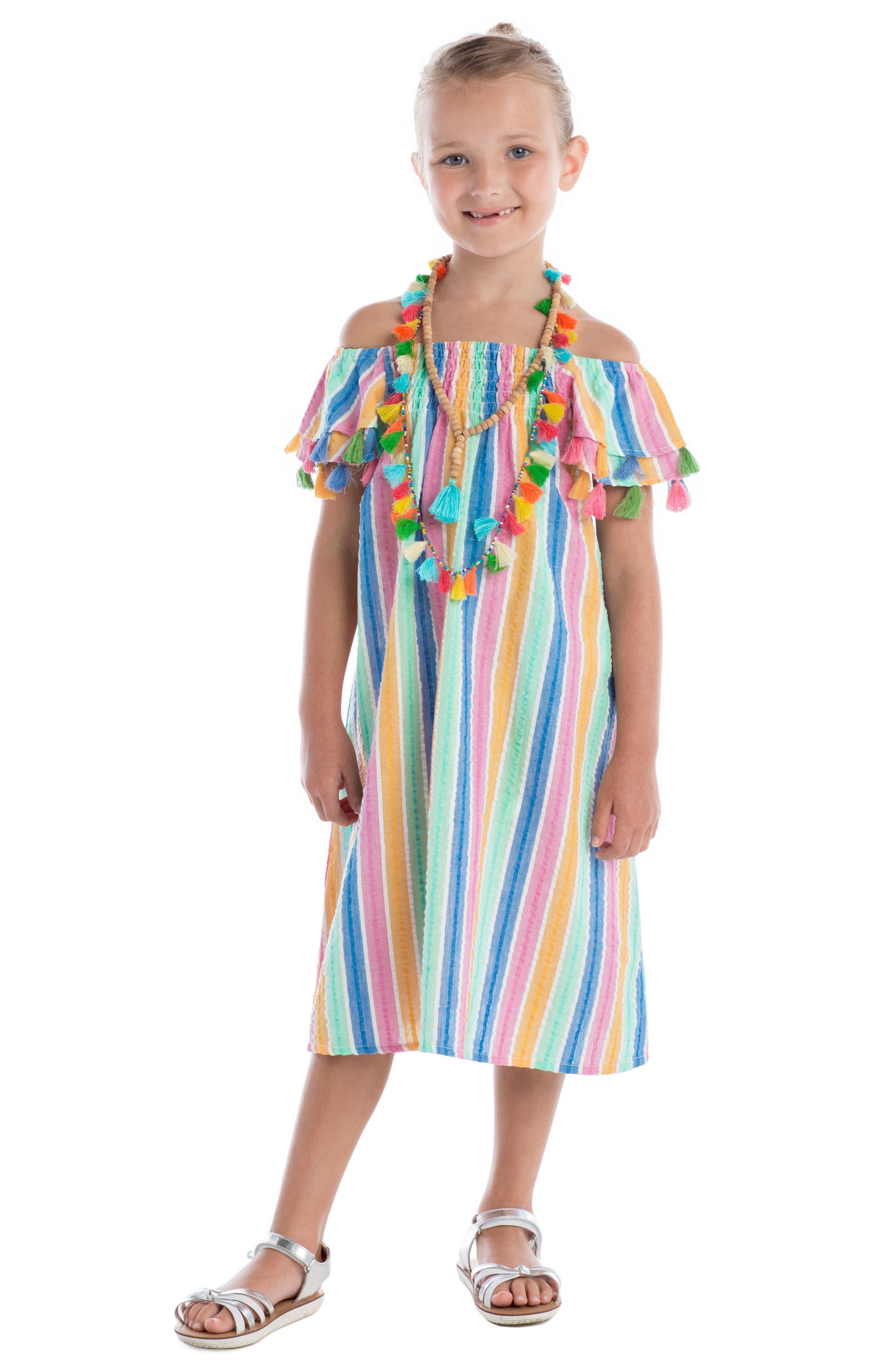 Sundancer Stripe Cotton Dress,                             Alternate thumbnail 4, color,                             400