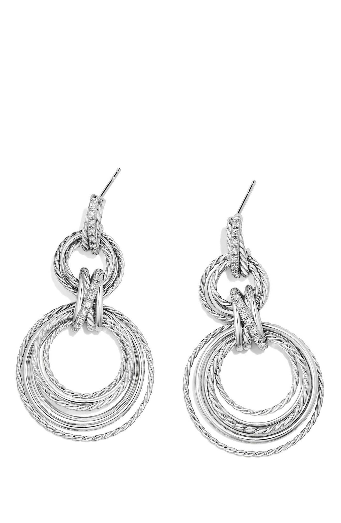 Crossover Double Drop Earrings with Diamonds,                             Alternate thumbnail 2, color,                             SILVER