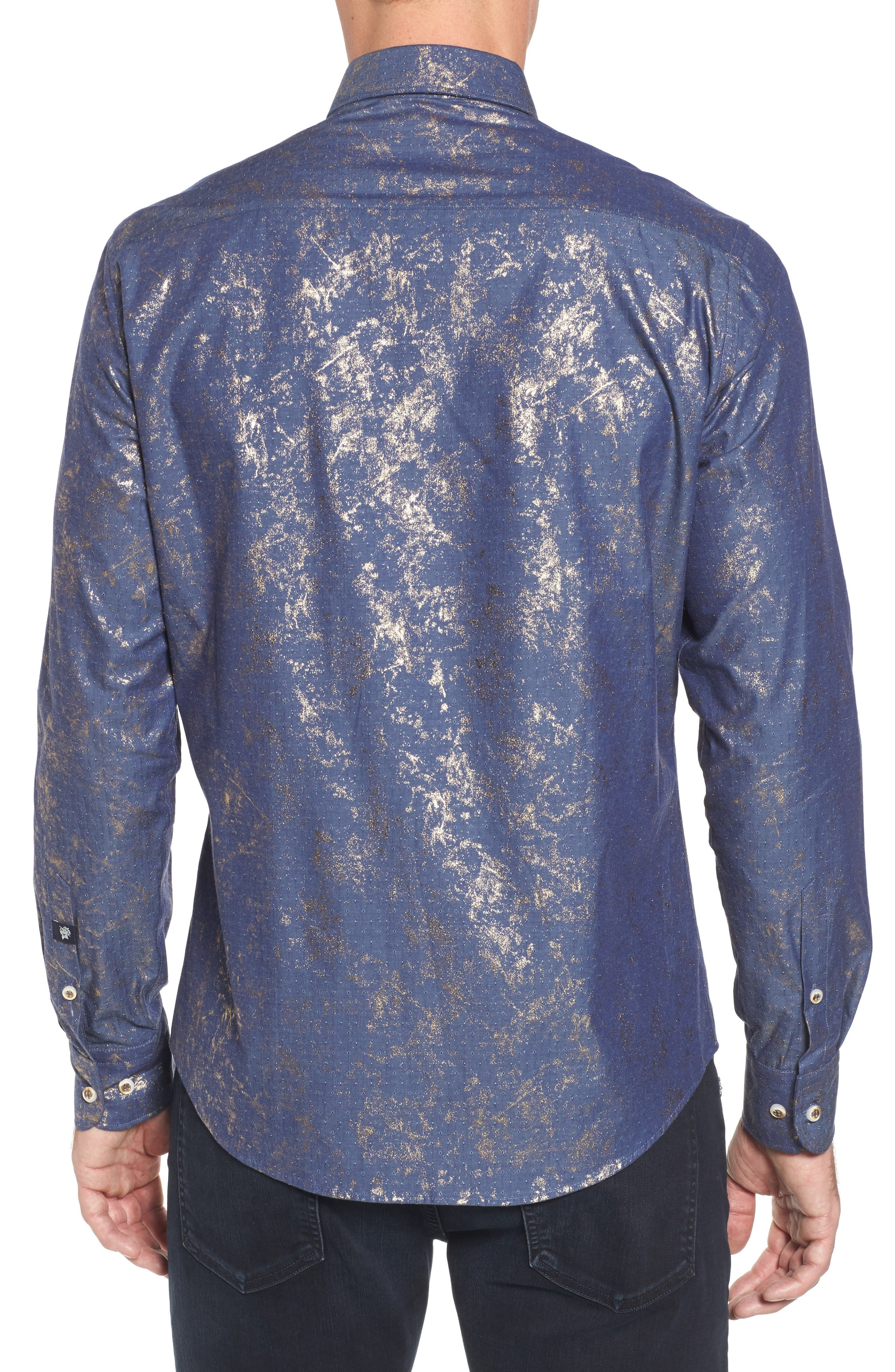 Stardust Diamond Regular Fit Foil Print Sport Shirt,                             Alternate thumbnail 2, color,                             421
