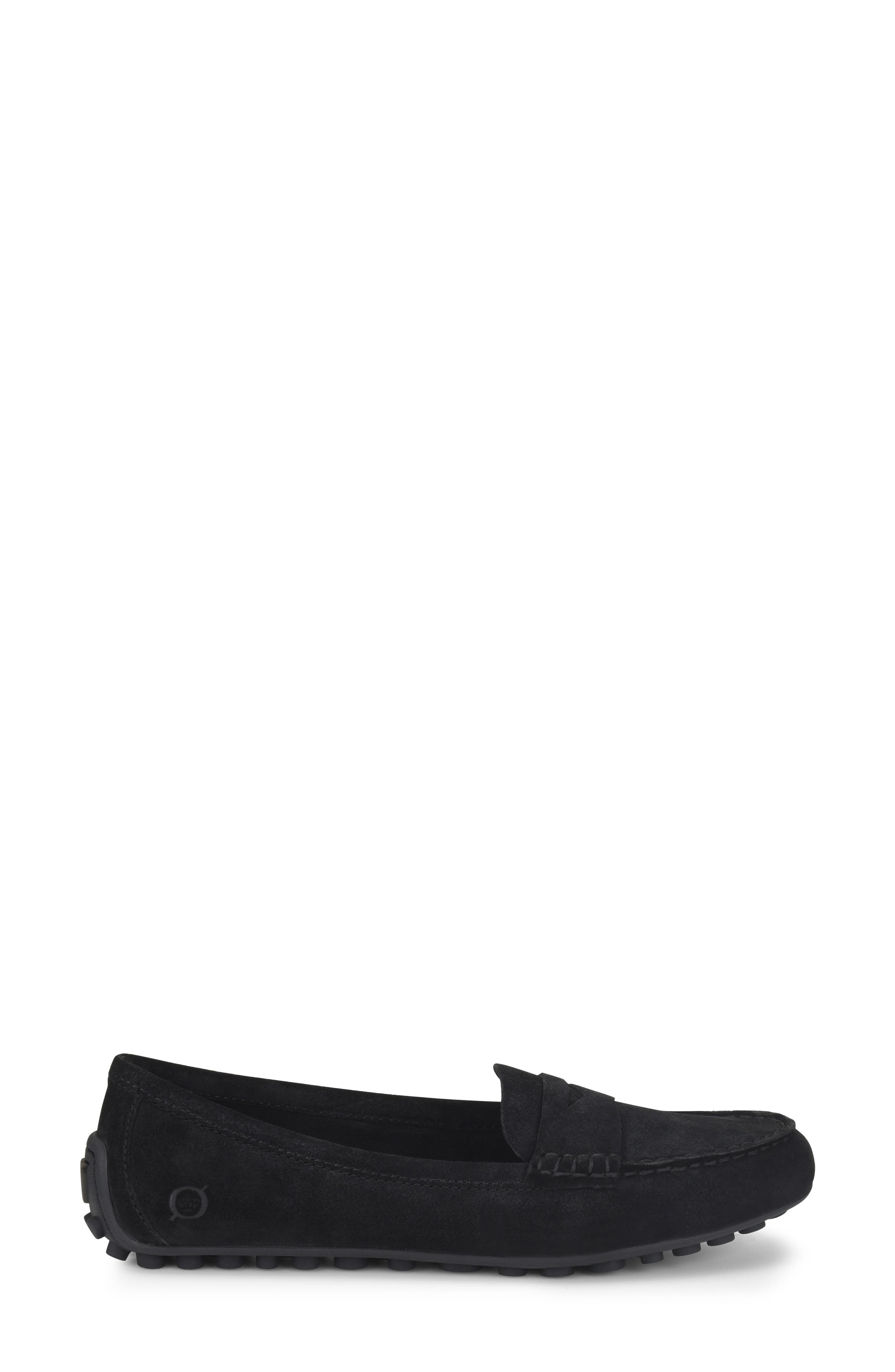 Malena Penny Loafer,                             Alternate thumbnail 3, color,                             BLACK SUEDE