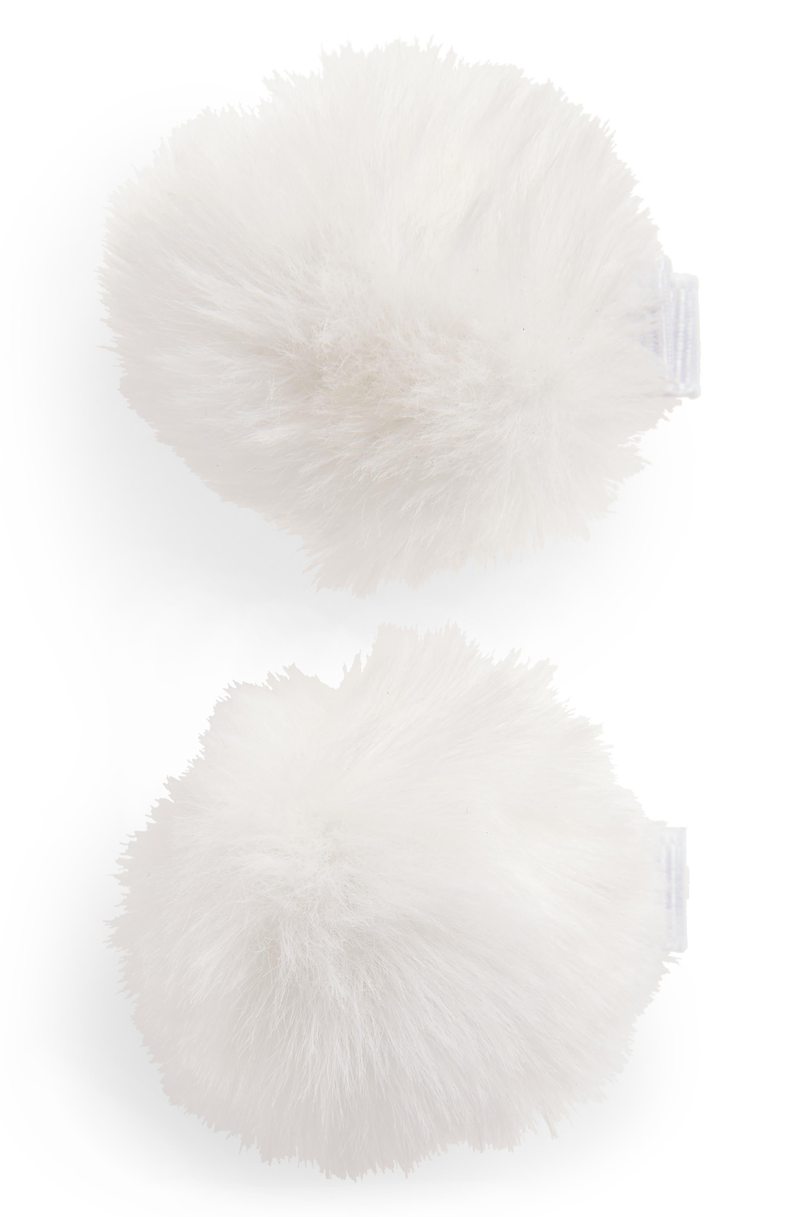 2-Pack Faux Furball Hair Clips,                             Main thumbnail 1, color,                             WHITE