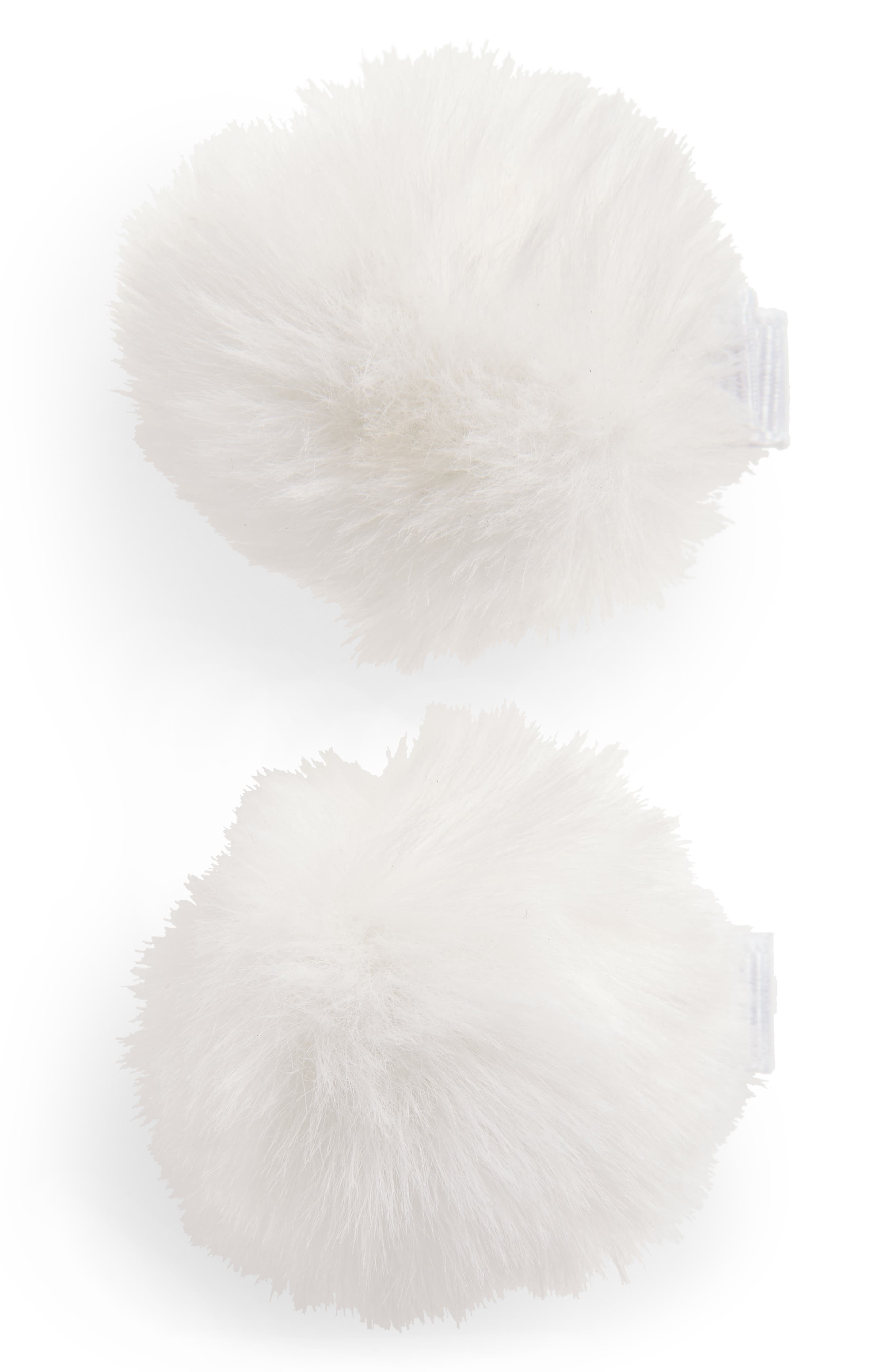 2-Pack Faux Furball Hair Clips,                         Main,                         color, WHITE