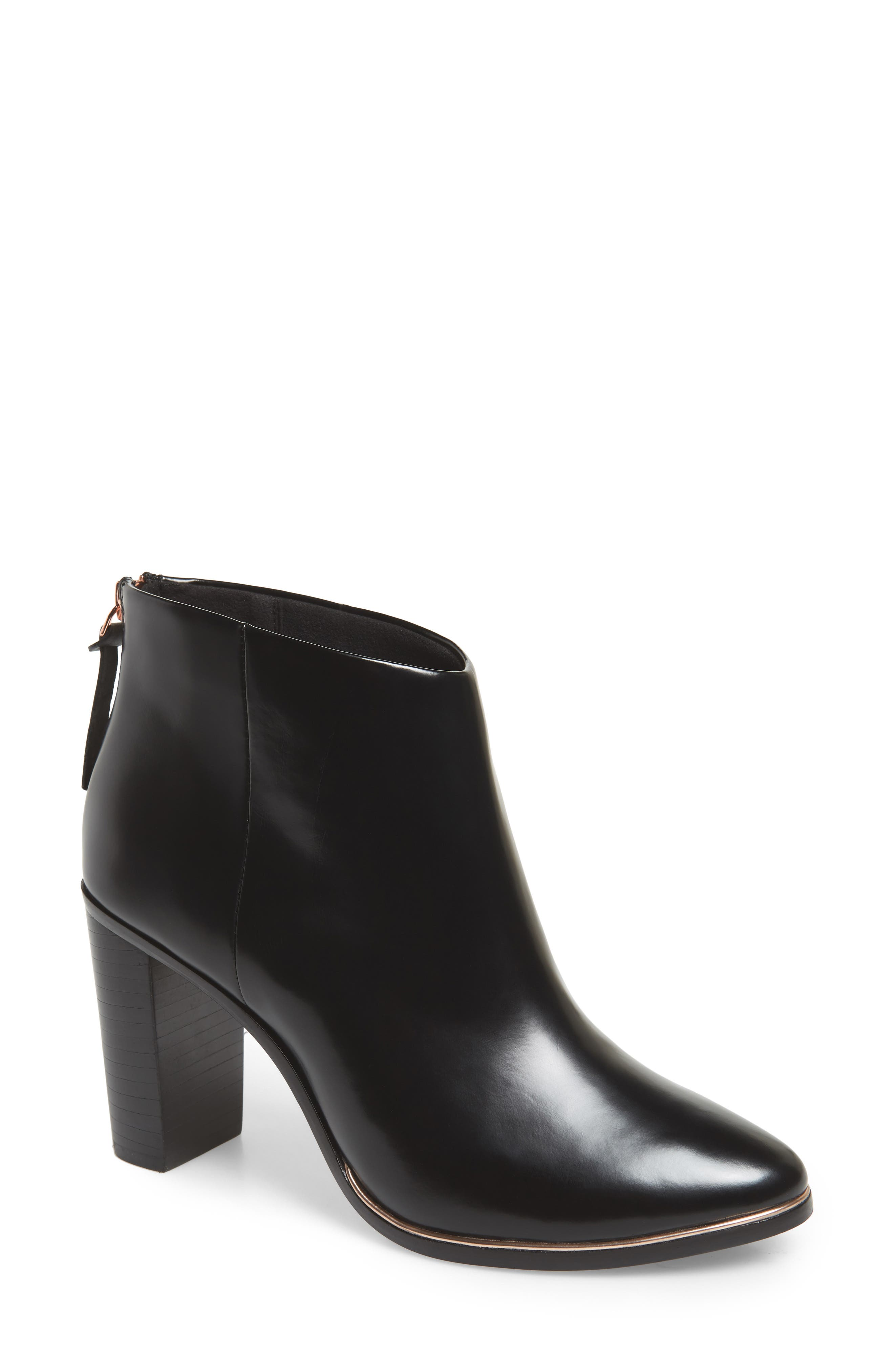 Vaully Bootie,                             Main thumbnail 1, color,                             BLACK LEATHER