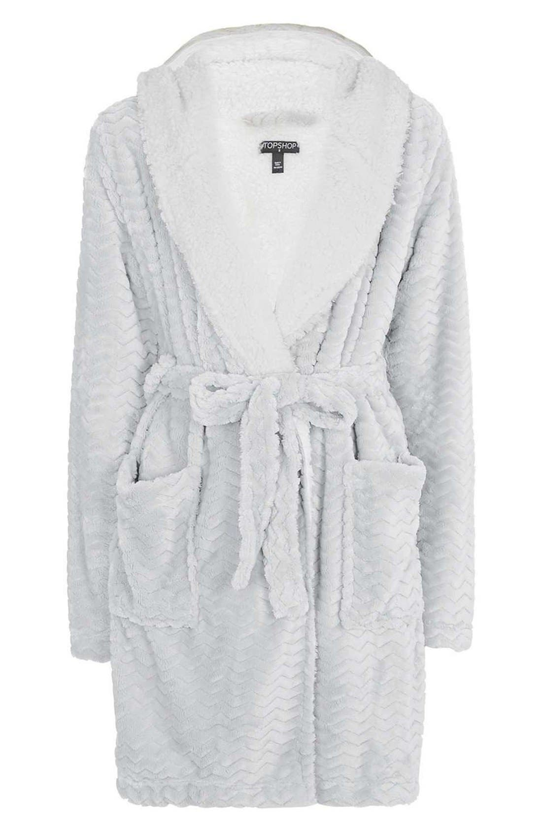 TOPSHOP,                             Teddy Hooded Chevron Robe,                             Alternate thumbnail 2, color,                             020