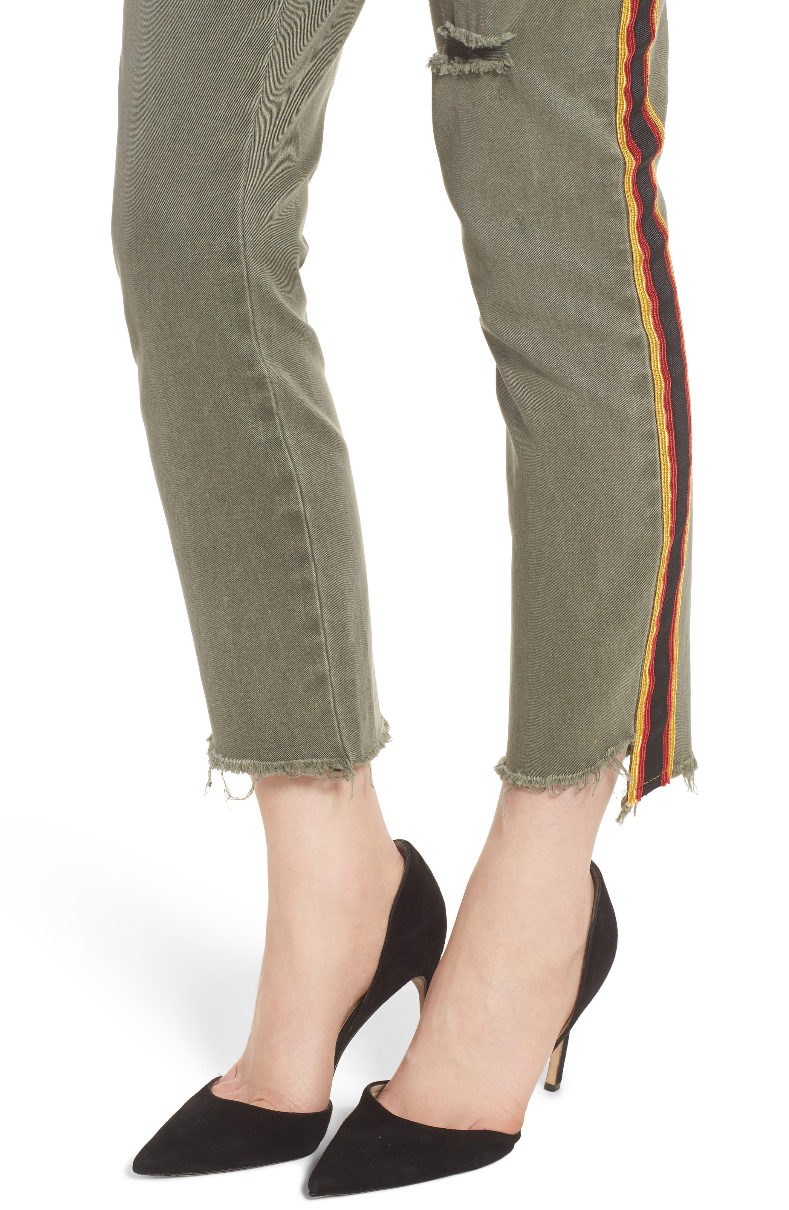 Uniform Stripe Step Hem Pants,                             Alternate thumbnail 4, color,                             MILITIA