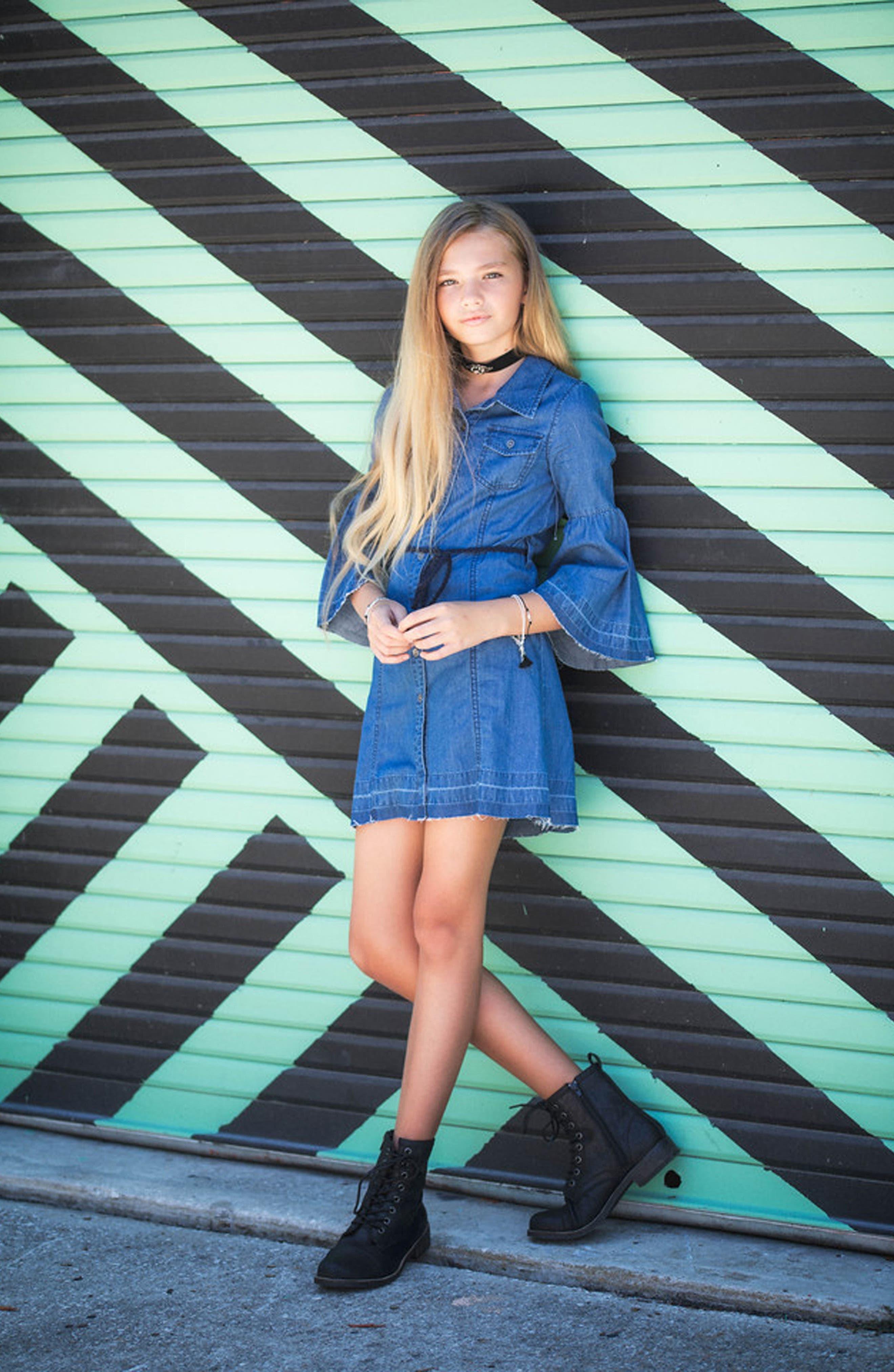 Bell Sleeve Chambray Dress,                             Alternate thumbnail 4, color,                             425