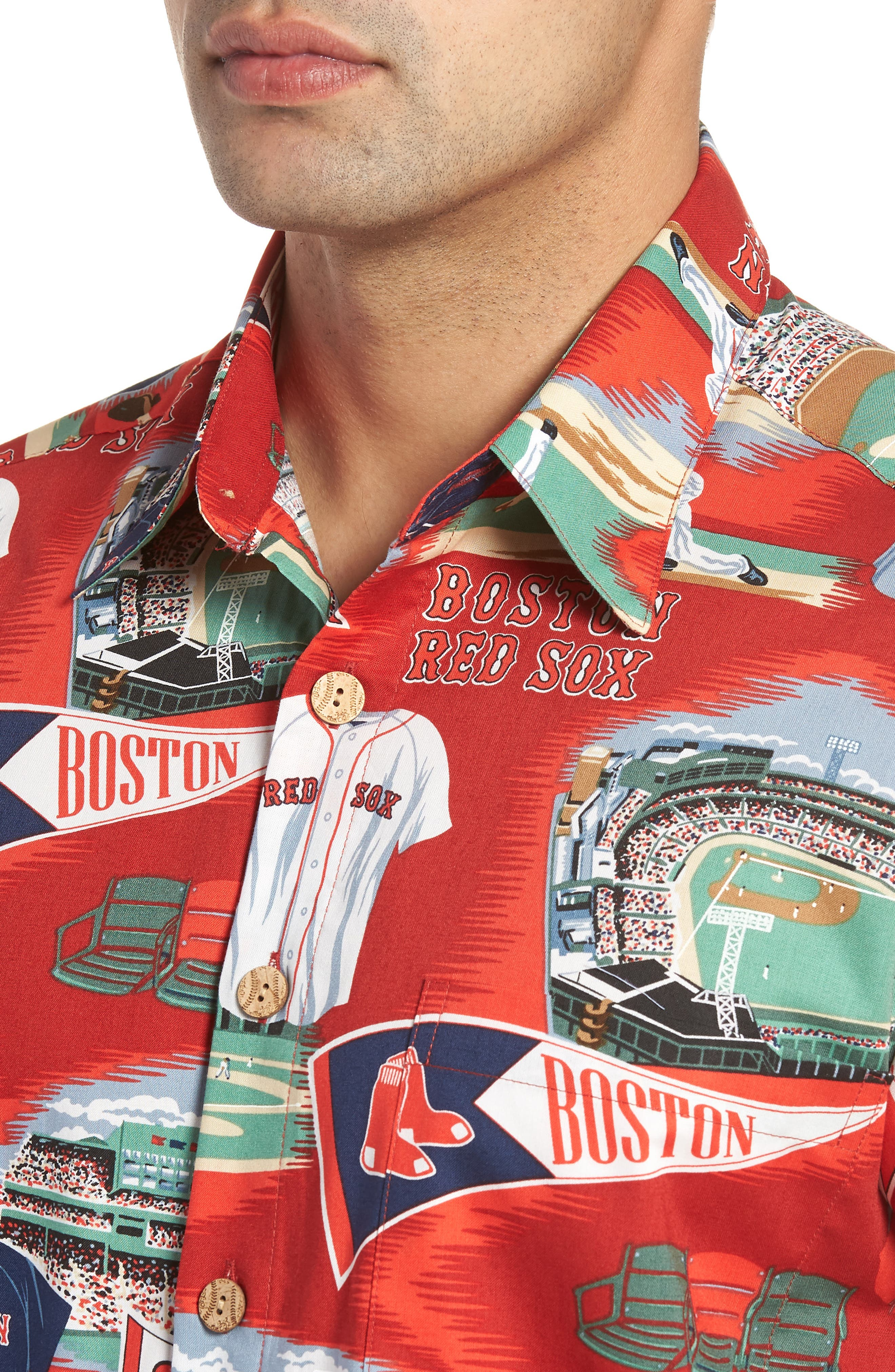 Boston Red Sox Classic Fit Camp Shirt,                             Alternate thumbnail 4, color,                             115