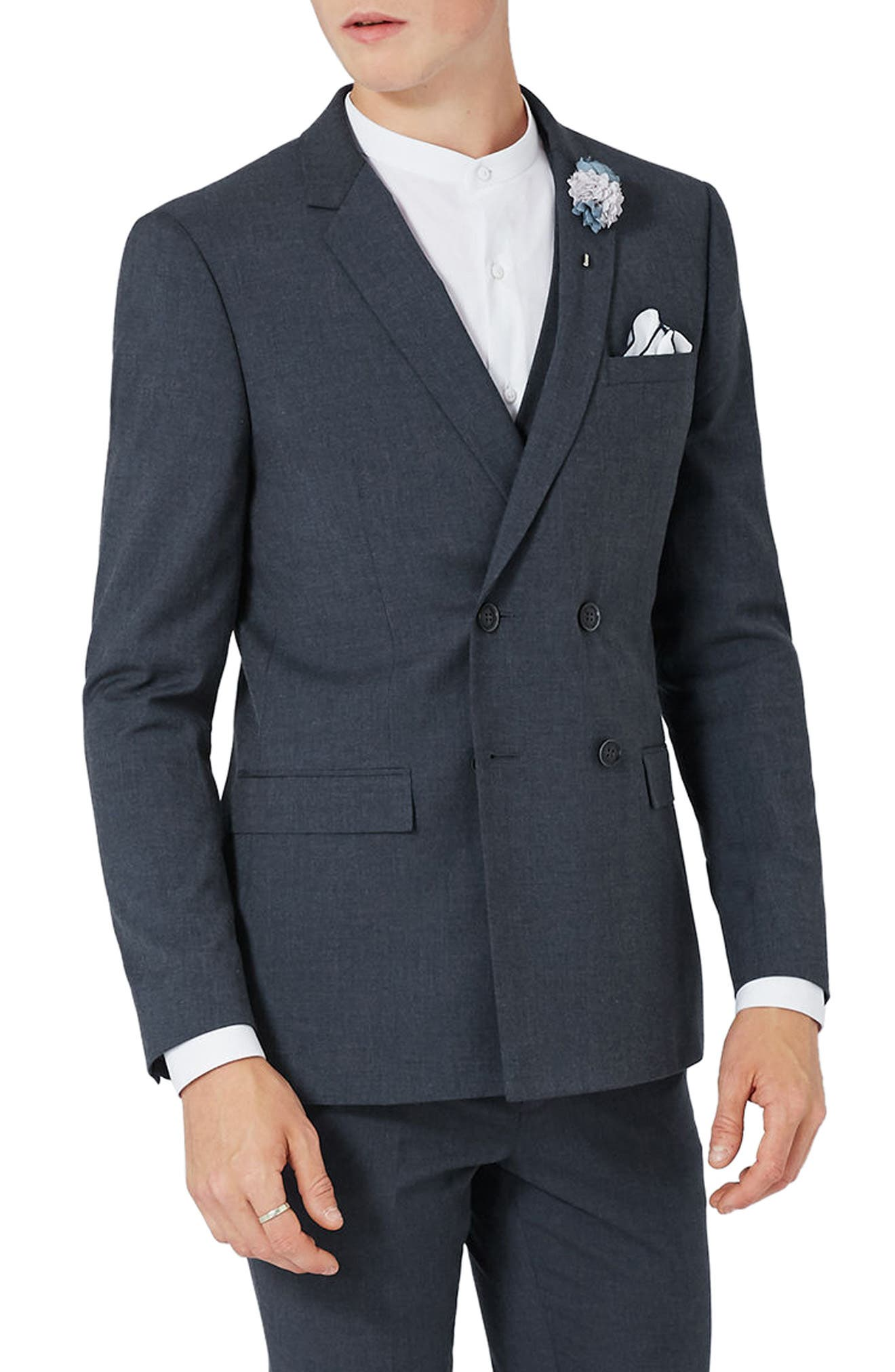 Skinny Fit Double Breasted Suit Jacket,                         Main,                         color,