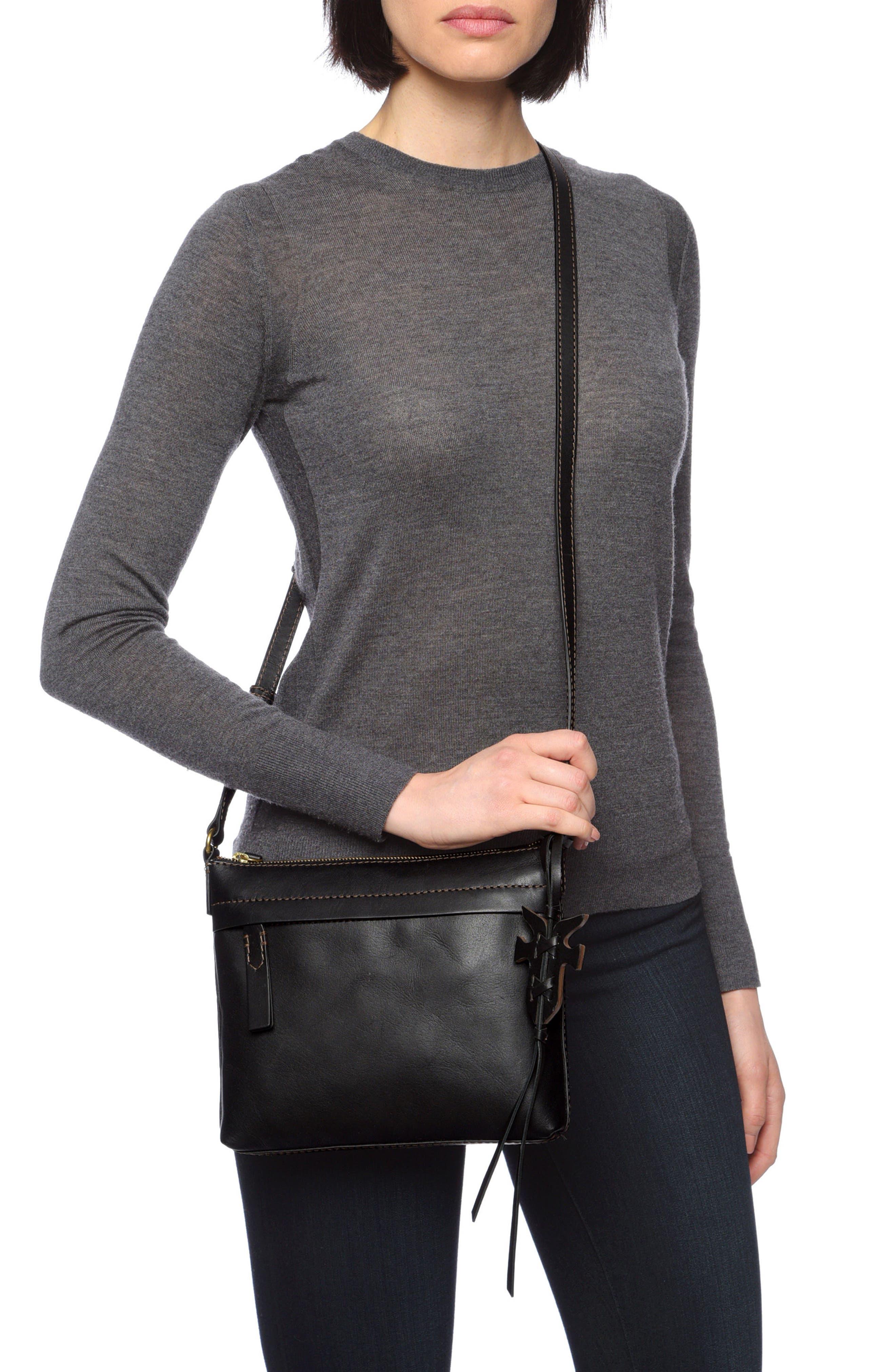 Carson Leather Crossbody Bag,                             Alternate thumbnail 2, color,                             BLACK