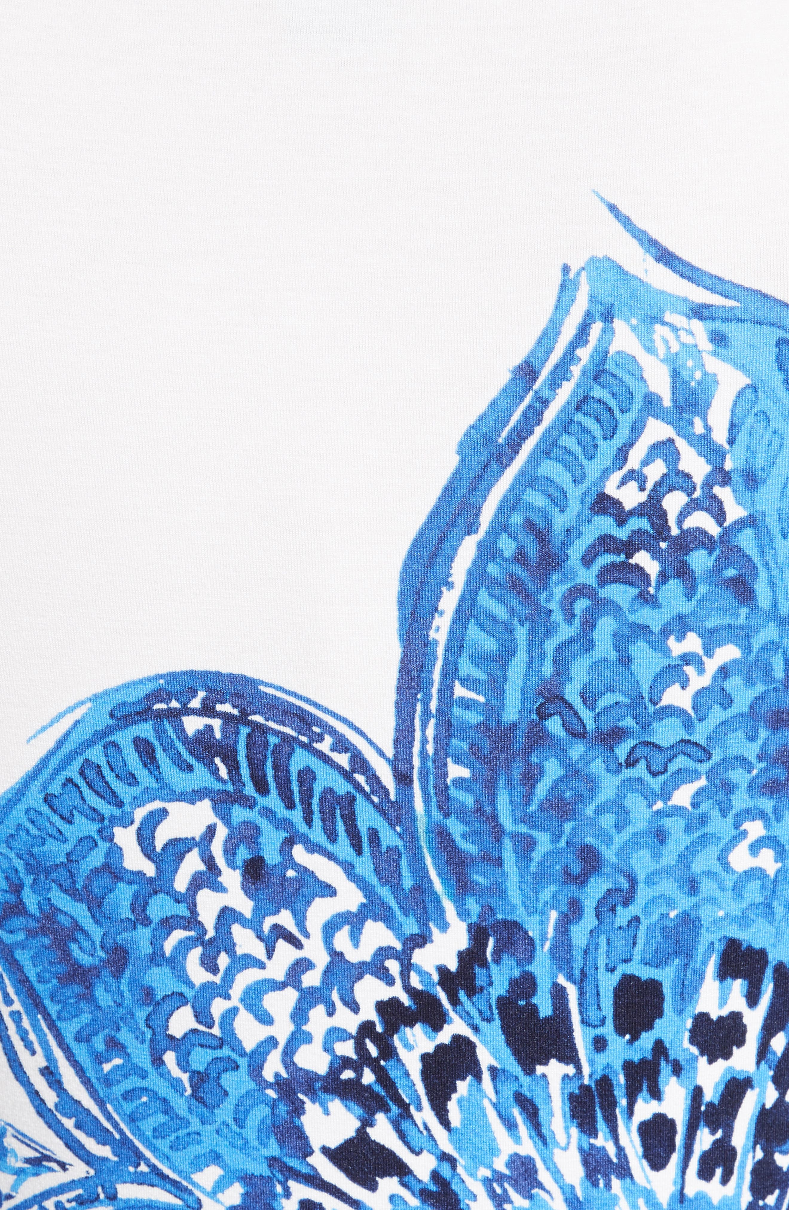 Lotus Blossom Print Jersey Tee,                             Alternate thumbnail 5, color,                             100