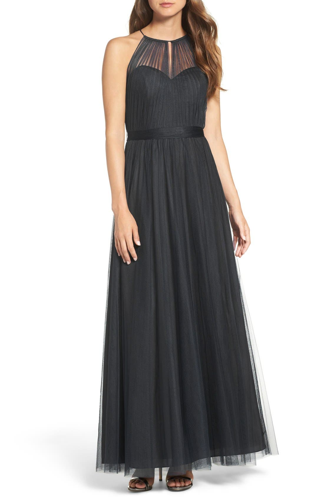 Tulle Halter Neck Gown,                             Main thumbnail 1, color,                             001