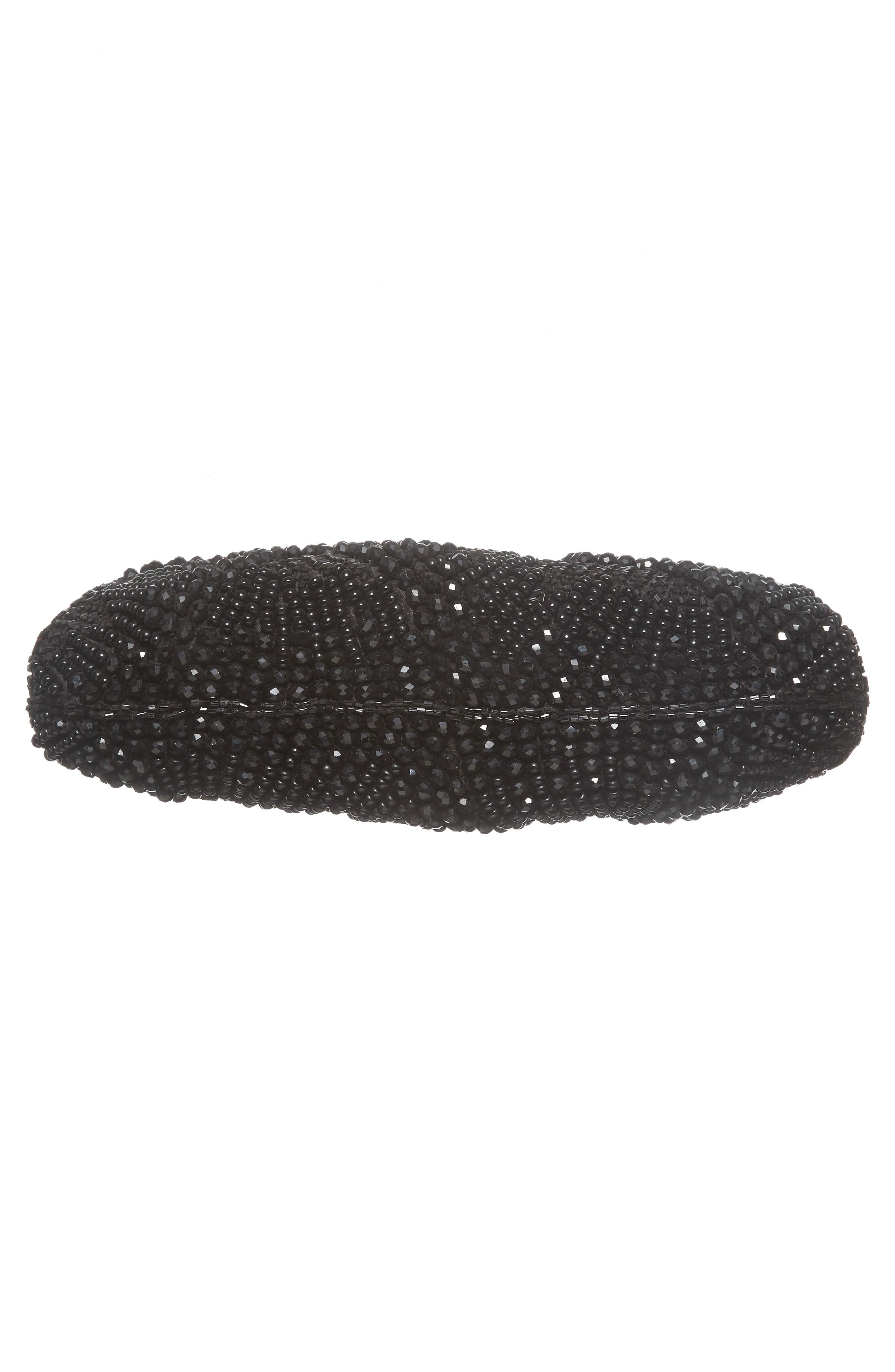 Faceted Fan Beaded Evening Clutch,                             Alternate thumbnail 6, color,                             001