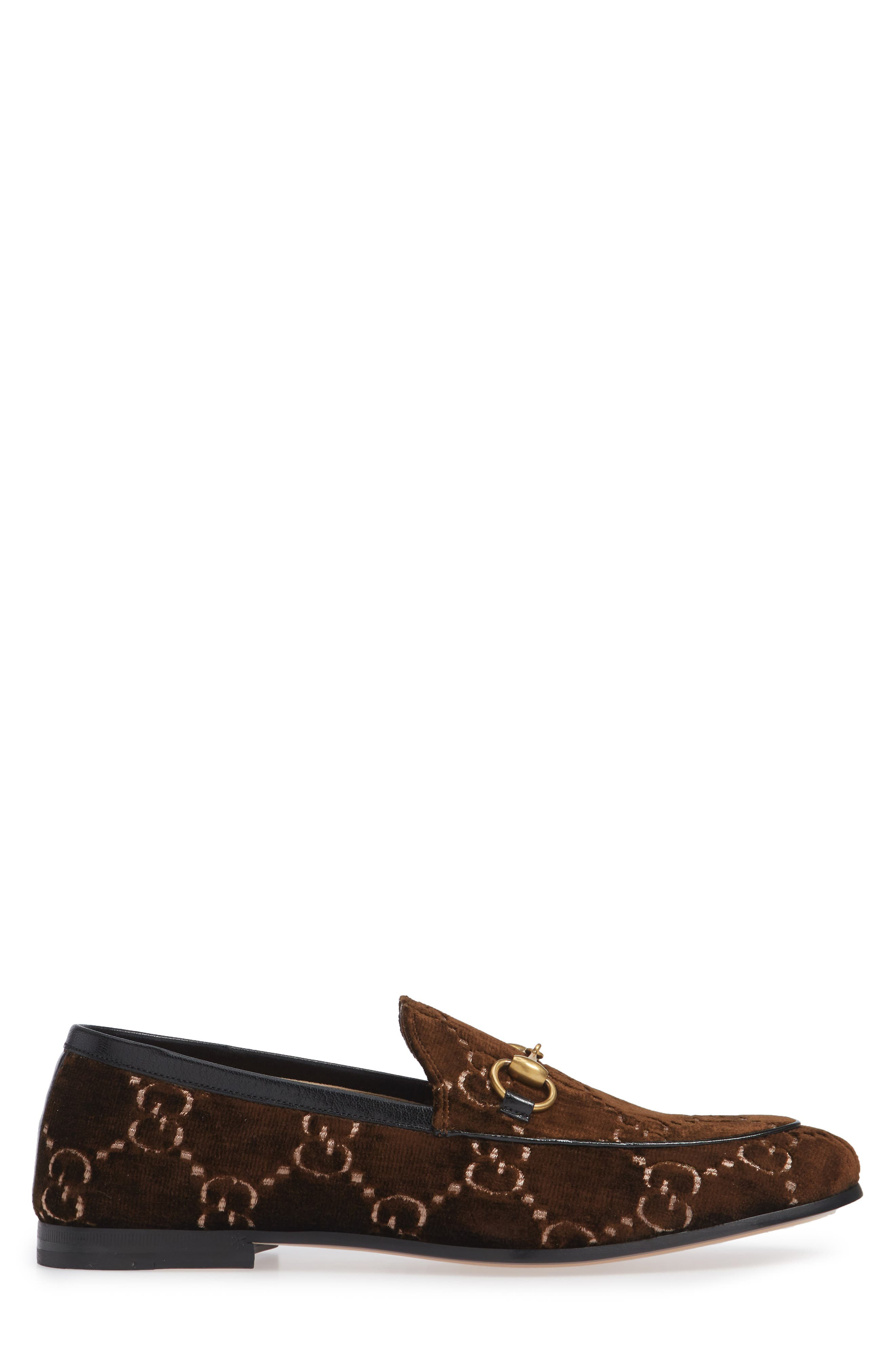 Jordaan GG Velvet Loafer,                             Alternate thumbnail 3, color,                             BROWN/ NERO