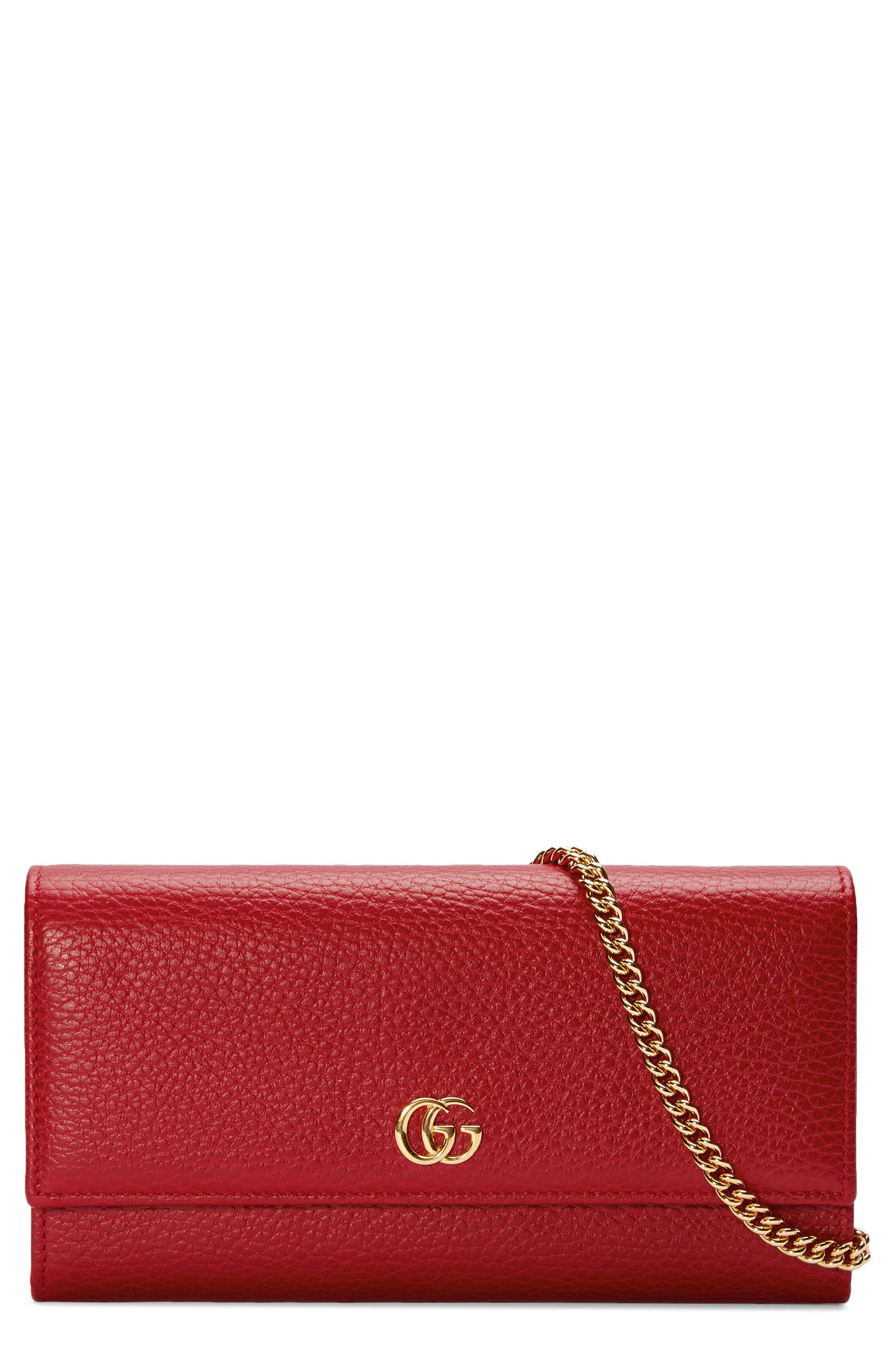 Petite Marmont Leather Continental Wallet on a Chain,                         Main,                         color, HIBISCUS RED
